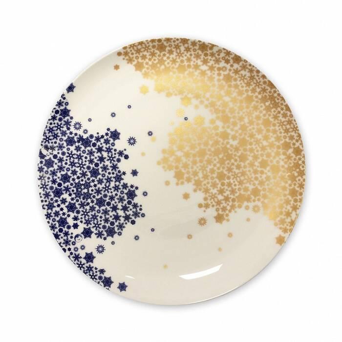 Тарелка Золотые снежинки №1Посуда<br><br><br>stock: 0<br>Материал: Фарфор<br>Цвет: Золотой<br>Диаметр: 26.5