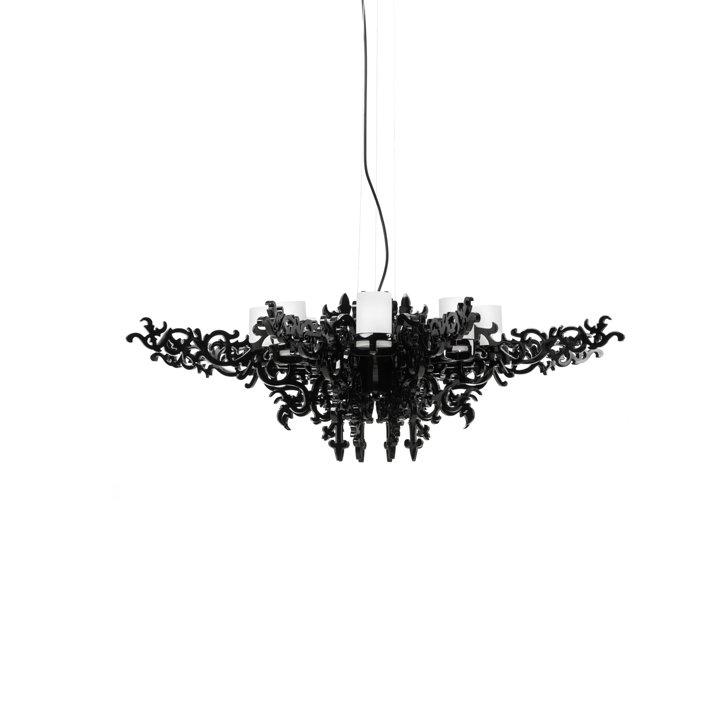 Подвесной светильник Mansion ChandelierПодвесные<br>Люстра Mansion - чистое великолепие, пронизанное викторианской эпохой, но сотворенное уже в наши дни. <br><br><br> Эта чудесная люстра подарит вашей комнате не только приятное освещение, но и удивительную атмосферу изысканности. Налет старины превосходно сочетается с алюминиевыми деталями, созданными при помощи инновационных технологий. Люстра излучает мягкий, но насыщенный свет, который придется к месту и в больших гостевых помещениях, и в маленьких комнатах обычной квартиры.<br><br><br> Ажурные фо...<br><br>stock: 0<br>Высота: 150<br>Диаметр: 100<br>Количество ламп: 8<br>Материал абажура: Стеклопластик<br>Мощность лампы: 40<br>Ламп в комплекте: Нет<br>Напряжение: 220<br>Тип лампы/цоколь: G9<br>Цвет абажура: Черный
