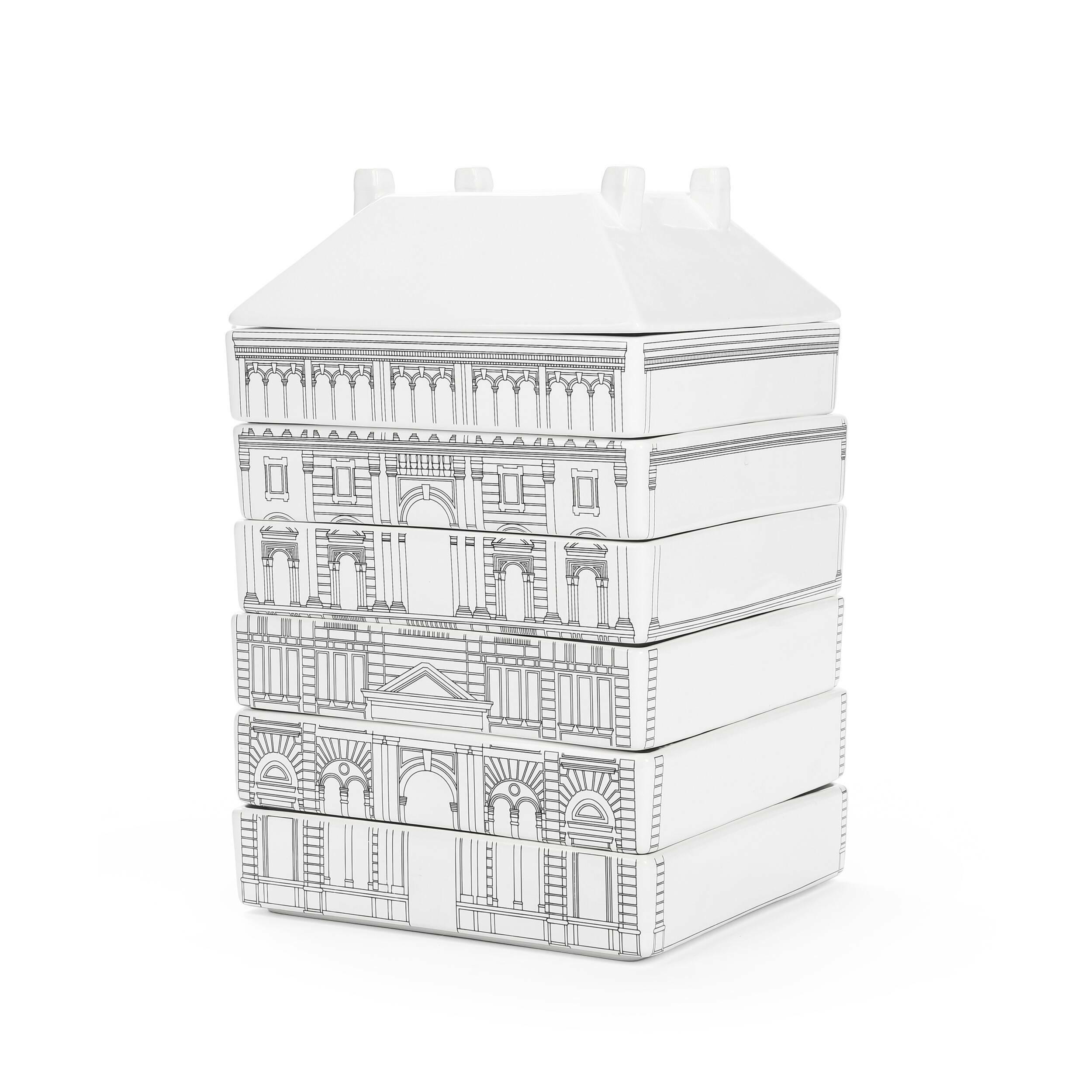 Набор посуды Palazzo GovernoПосуда<br>Набор посуды Palazzo Governo — еще один яркий и оригинальный проект, разработанный итальянским дизайнером Алессандро Дзамбелли по заказу компании Seletti. Производитель дизайнерской посуды компания Seletti в очередной раз разрушает стереотипы повседневности и расширяет границы воображения. Архитектурный модульный сервиз на 6 персон выстроен из фарфора в стиле Флорентийского ренессанса.<br><br><br> Дворцы и башни разбираются на чашки, стаканы, тарелки для первых, вторых и десертных блюд. С в...<br><br>stock: 0<br>Высота: 30<br>Ширина: 18<br>Материал: Керамика<br>Цвет: Белый с узором<br>Диаметр: 18