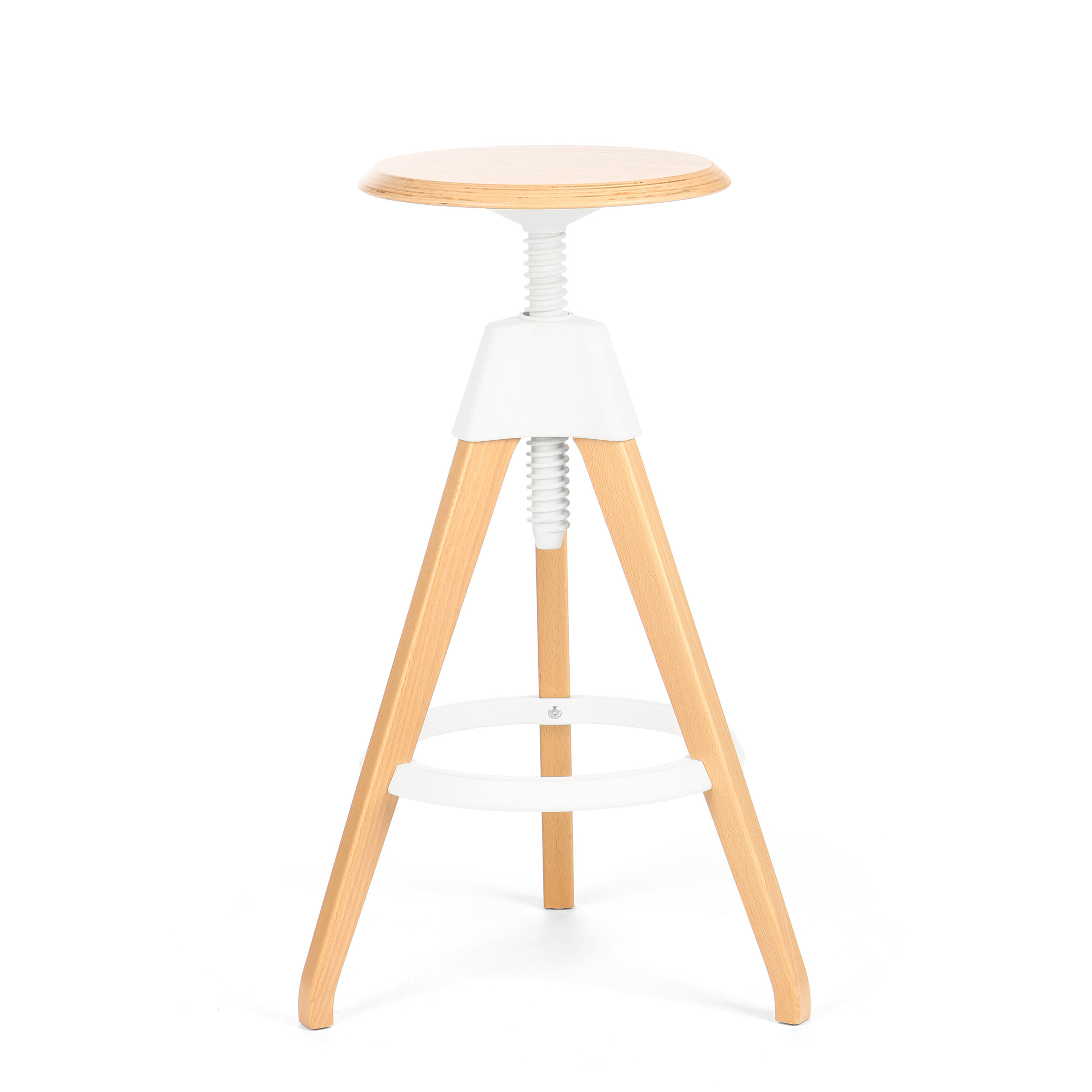 Барный стул JerryБарные<br>Дизайнерский светло-коричневый деревянный барный стул Jerry (Джерри) с цветным каркасом от Cosmo (Космо). <br><br> Игривый и легкий оригинальный барный стул Jerry — это натуральное дерево в комплекте с прочным пластиком. Винтовой механизм, укрепленный под аккуратным сиденьем, позволяет регулировать высоту стула. Устойчивые ножки, выполненные из бука, гармонируют с колористическим решением конструктивных деталей.<br><br><br> Применение такой мебели довольно широко, начиная от скандинавского натурализм...<br><br>stock: 1<br>Высота: 76<br>Высота сиденья: 68-76<br>Диаметр: 45<br>Цвет ножек: Светло-коричневый<br>Материал ножек: Массив бука<br>Тип материала каркаса: Полипропилен<br>Материал сидения: Массив бука<br>Цвет сидения: Светло-коричневый<br>Тип материала сидения: Дерево<br>Тип материала ножек: Дерево<br>Цвет каркаса: Белый