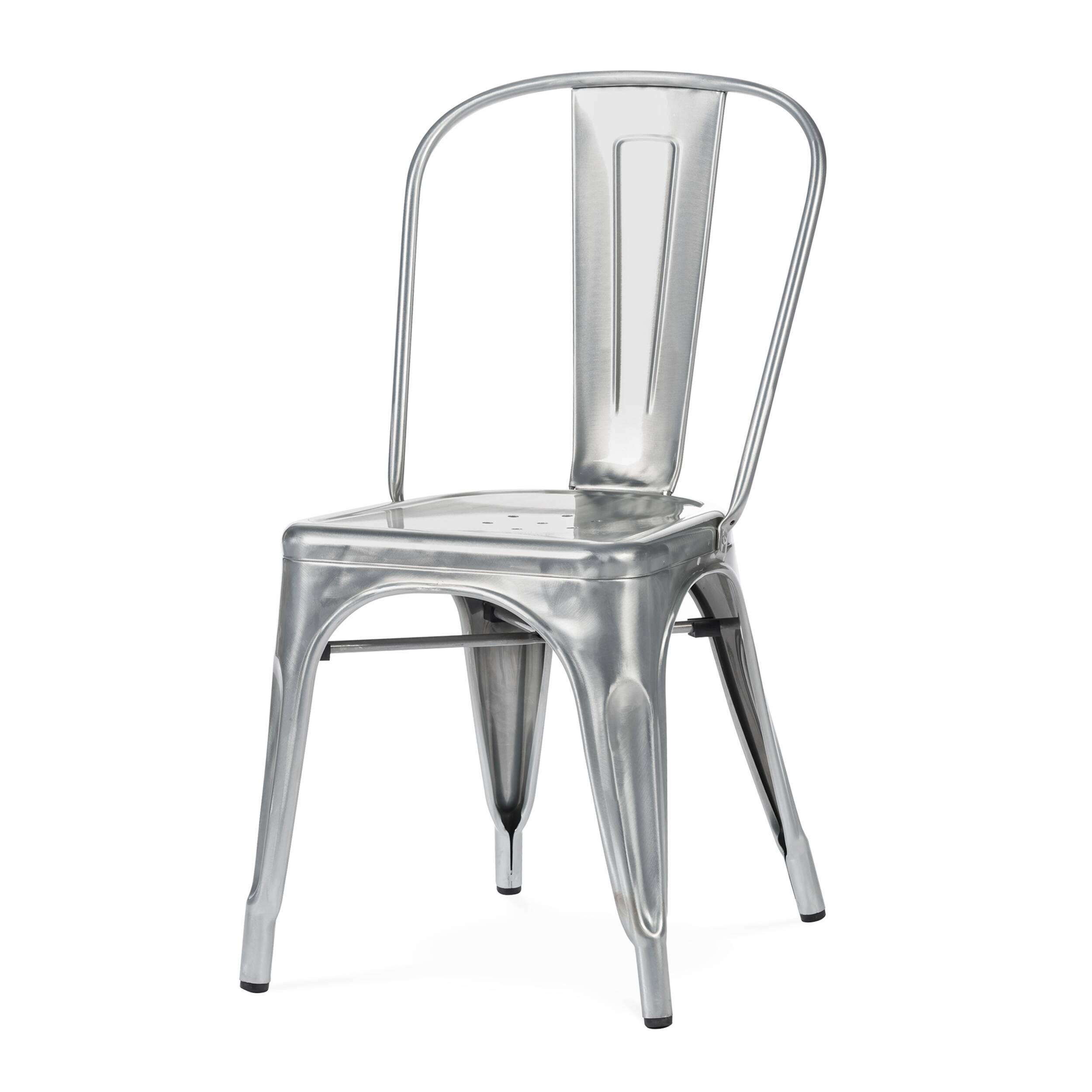 Стул MaraisИнтерьерные<br>Дизайнерский стальной жесткий стул Marais (Мэрейс) необычной формы без подлокотников от Cosmo (Космо).<br><br>     Сталь и больше ничего. Блестящее применение этого простого материала демонстрирует стул Marais. Тонкая стальная трубка с широкой вертикальной панелью образует спинку, сиденье с едва заметным углублением и несколькими декоративными отверстиями аккуратно приварено к цельному каркасу ножек, пространство между которыми оформлено в виде арок, гармонируя со спинкой и придавая предмету легк...<br><br>stock: 12<br>Высота: 85<br>Высота сиденья: 45<br>Ширина: 46<br>Глубина: 51<br>Тип материала каркаса: Сталь<br>Цвет каркаса: Гальванизированный
