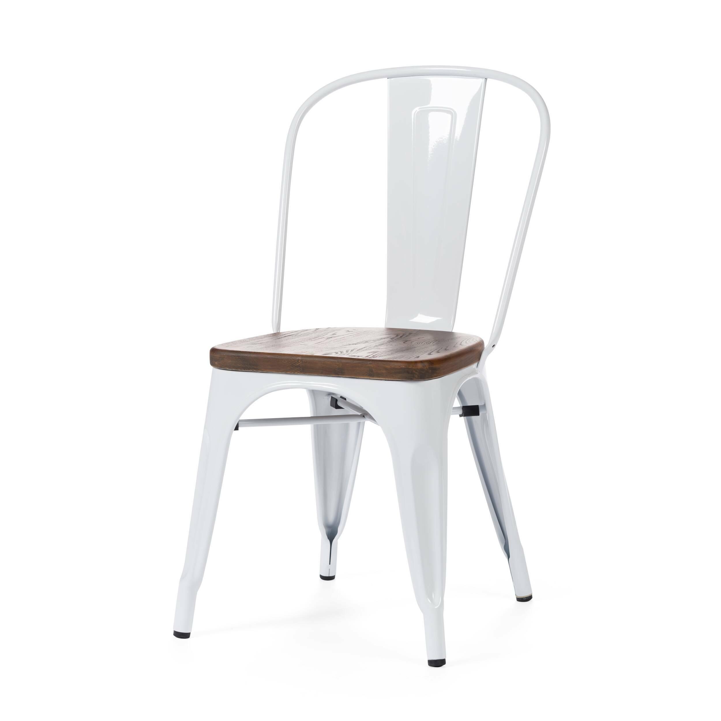 Стул Marais WoodИнтерьерные<br>Дизайнерский креативный жесткий стул Marais Wood (Мэрейс Вуд) на стальном каркасе с сиденьем из дерева от Cosmo (Космо).<br><br>     В современном мире не существует единого правила для создания интерьера, это вопрос личных предпочтений. Кто-то любит наличие картин в золоченых резных рамах, кто-то увлекается яркими восточными коврами и рогожками, а кому-то ближе холодный приглушенный блеск металла и промышленный дизайн в оформлении жилища.<br><br><br> Стул Marais Wood  — это именно индустриальный стиль...<br><br>stock: 0<br>Высота: 85<br>Высота сиденья: 45<br>Ширина: 46<br>Глубина: 51<br>Тип материала каркаса: Сталь<br>Материал сидения: Массив ивы<br>Цвет сидения: Темно-коричневый<br>Тип материала сидения: Дерево<br>Цвет каркаса: Белый