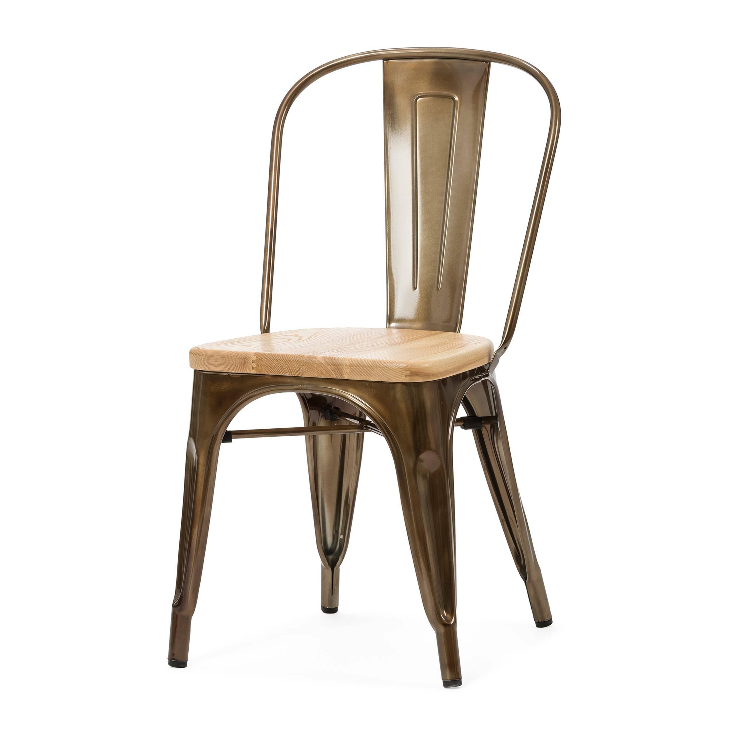 Стул Marais WoodИнтерьерные<br>Дизайнерский креативный жесткий стул Marais Wood (Мэрейс Вуд) на стальном каркасе с сиденьем из дерева от Cosmo (Космо).<br><br>     В современном мире не существует единого правила для создания интерьера, это вопрос личных предпочтений. Кто-то любит наличие картин в золоченых резных рамах, кто-то увлекается яркими восточными коврами и рогожками, а кому-то ближе холодный приглушенный блеск металла и промышленный дизайн в оформлении жилища.<br><br><br> Стул Marais Wood  — это именно индустриальный стиль...<br><br>stock: 10<br>Высота: 85<br>Высота сиденья: 45<br>Ширина: 46<br>Глубина: 51<br>Тип материала каркаса: Сталь<br>Материал сидения: Массив дуба<br>Цвет сидения: Дуб<br>Тип материала сидения: Дерево<br>Цвет каркаса: Бронза пушечная