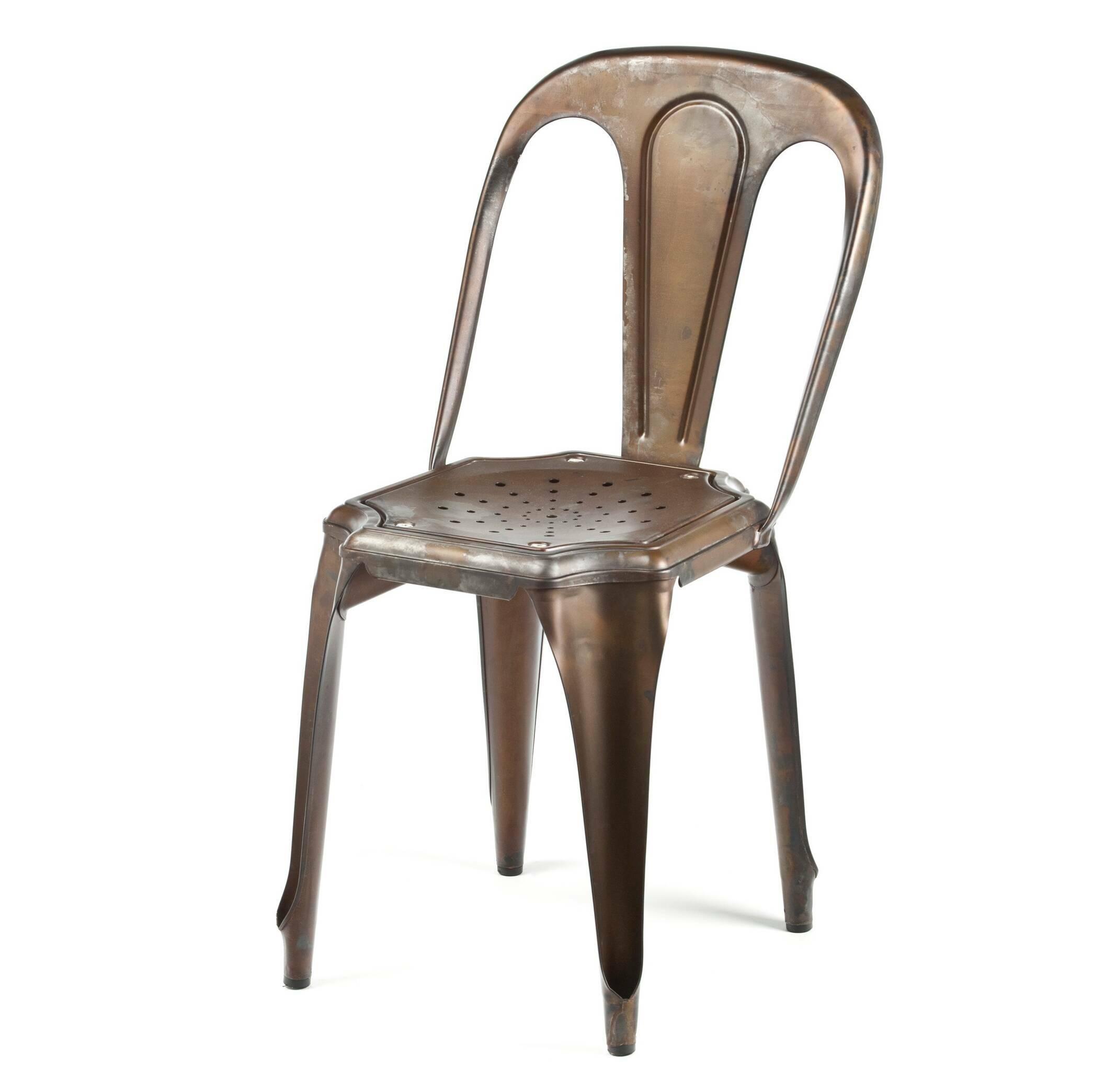 Стул Marais VintageИнтерьерные<br>Дизайнерский винтажный стул Marais Vintage (Мэрейс Винтаж) из стали цвета кофейной ржавчины от Cosmo (Космо).<br><br>     Для помещений клубов, кафе или загородных домов, спроектированных в индустриальном или сельском стиле, органичным элементом интерьера станут стулья Marais Vintage.<br><br><br>     Эскизы этого предмета мебели принадлежат руке Ксавье Пошара, французского дизайнера прошлого века. Разработанные им методы работы с металлом до сих пор широко используются в самых разных отраслях.<br><br><br> Ст...<br><br>stock: 20<br>Высота: 80<br>Высота сиденья: 45<br>Ширина: 42<br>Глубина: 53<br>Тип материала каркаса: Сталь<br>Цвет каркаса: Ржавчина кофейная