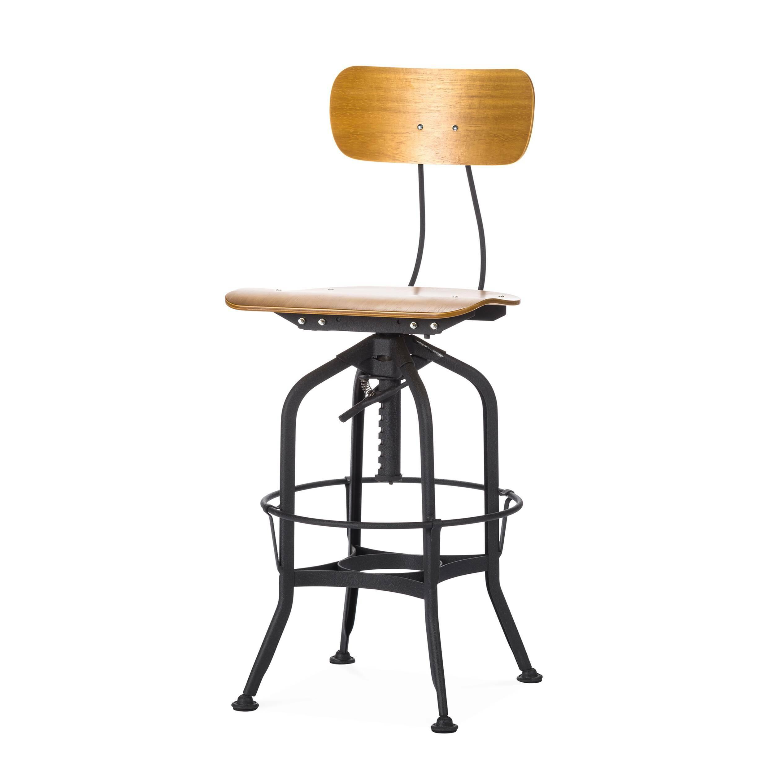 Барный стул Toledo WoodБарные<br>Дизайнерский цветной барный стул Toledo Wood (Толедо Вуд) из фанеры на черных ножках от Cosmo (Космо). <br><br> Целевыми помещениями для использования стульев Toledo изначально были офисы, заводы, аптеки и тому подобные места. Однако под влиянием веяний модных дизайнерских тенденций появилась новая модель — для ресторанов, молодежных клубов и баров.<br><br><br> Замысловатый каркас из стали, выполненный в черном или металлическом цвете, представлен системой «паучьи лапки», как назвали это сами дизайне...<br><br>stock: 0<br>Высота: 97<br>Высота сиденья: 64-75<br>Ширина: 42<br>Глубина: 48<br>Цвет ножек: Черный<br>Материал сидения: Фанера, шпон гевеи<br>Цвет сидения: Коричневый<br>Тип материала сидения: Дерево<br>Тип материала ножек: Сталь