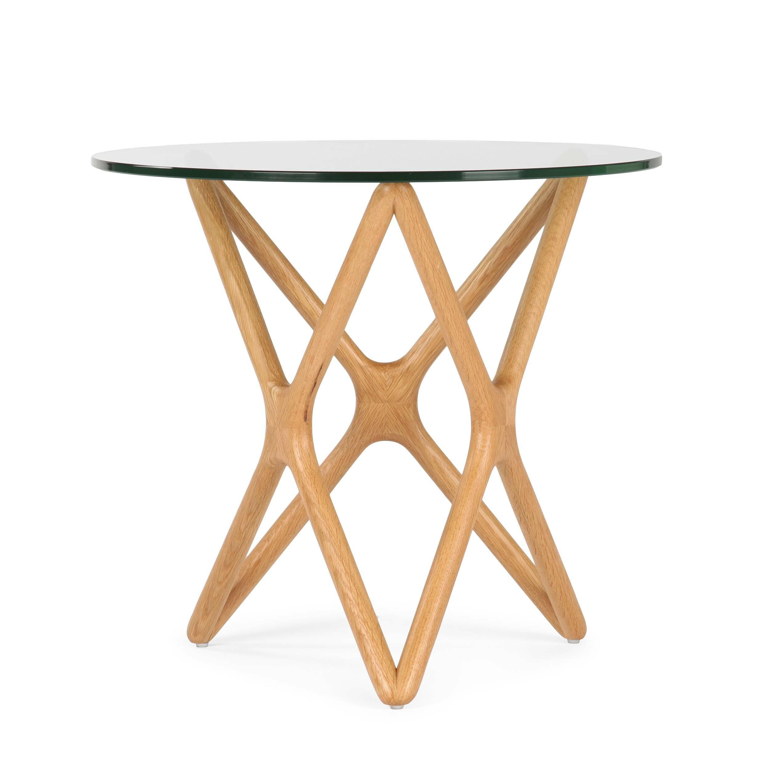 Кофейный стол Triple X высота 51Кофейные столики<br>Дизайнерский креативный кофейный стол Triple X (Трипл Икс) с высотой 51 см с деревянными ножками и стеклянной столешницей от Cosmo (Космо).<br><br>Впечатляющее, привлекательное сочетание стекла и дерева собраны в единую и стройную конструкцию, чтобы создать настоящее произведение искусства для вашего интерьера. Прочные ножки из долговечного американского ореха (в другом варианте — из белого дуба) будто оплетают чистое как слеза стекло, превращаясь в поистине прекрасный и не менее функциональный...<br><br>stock: 4<br>Высота: 51<br>Диаметр: 55<br>Цвет ножек: Светло-коричневый<br>Цвет столешницы: Прозрачный<br>Материал ножек: Массив дуба<br>Тип материала столешницы: Стекло закаленное<br>Тип материала ножек: Дерево