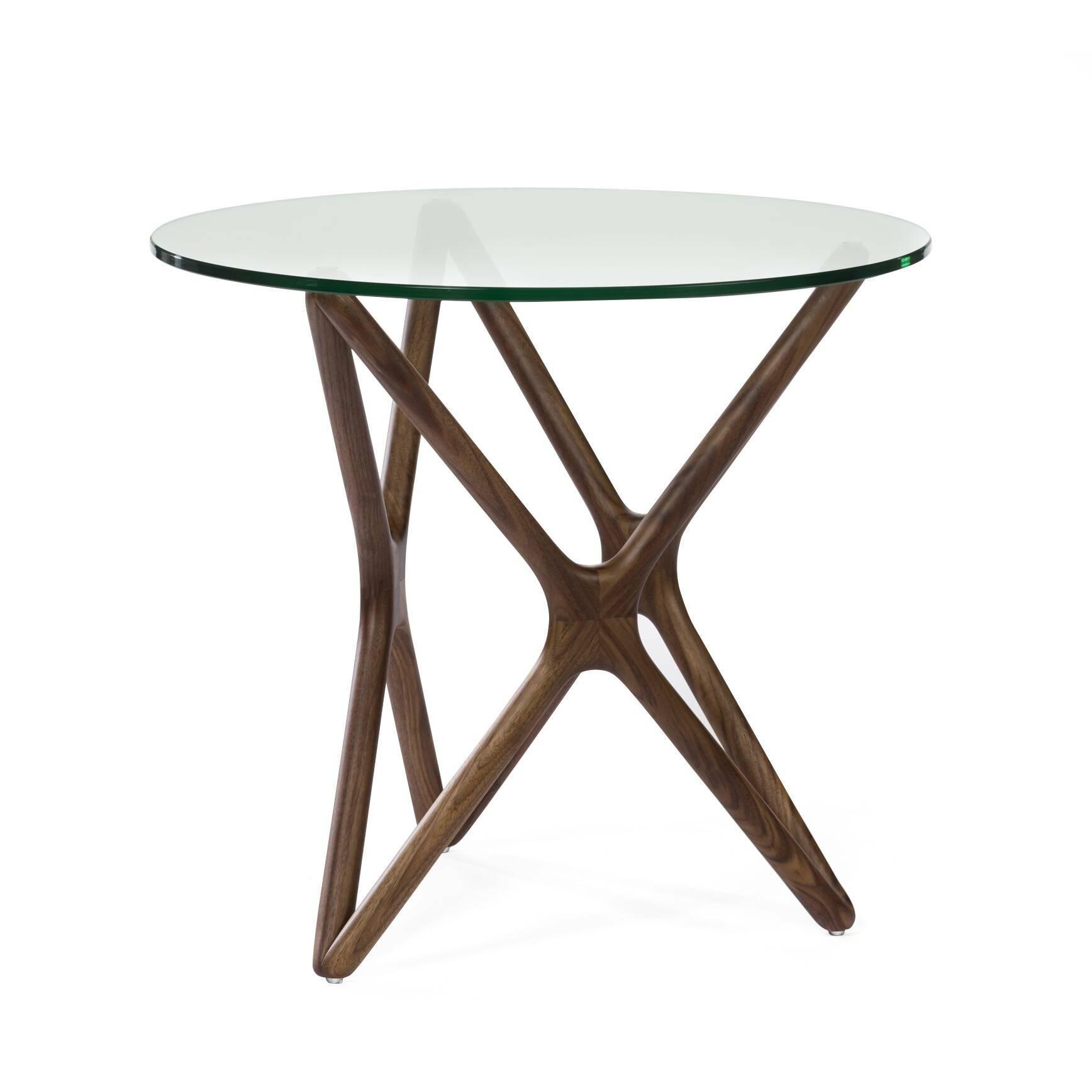 Кофейный стол Triple X высота 51Кофейные столики<br>Дизайнерский креативный кофейный стол Triple X (Трипл Икс) с высотой 51 см с деревянными ножками и стеклянной столешницей от Cosmo (Космо).<br><br>Впечатляющее, привлекательное сочетание стекла и дерева собраны в единую и стройную конструкцию, чтобы создать настоящее произведение искусства для вашего интерьера. Прочные ножки из долговечного американского ореха (в другом варианте — из белого дуба) будто оплетают чистое как слеза стекло, превращаясь в поистине прекрасный и не менее функциональный...<br><br>stock: 6<br>Высота: 51<br>Диаметр: 55<br>Цвет ножек: Орех американский<br>Цвет столешницы: Прозрачный<br>Материал ножек: Массив ореха<br>Тип материала столешницы: Стекло закаленное<br>Тип материала ножек: Дерево