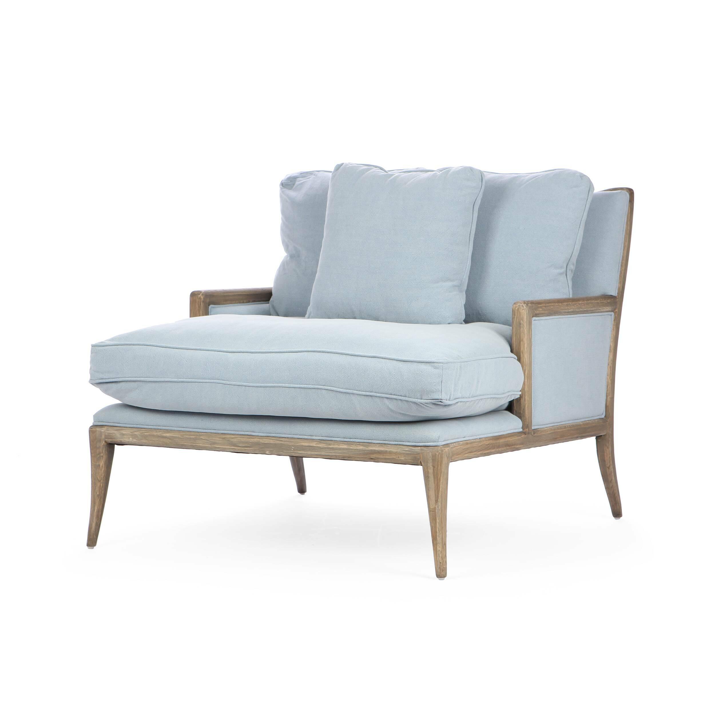 Кресло Florence ModernИнтерьерные<br>Дизайнерское широкое светлое кресло Florence Modern (Флоренс Модерн) с деревянными подлокотниками и ножками от Cosmo (Космо).<br><br><br> Кресло Florence Modern разработано ведущими дизайнерами компании Cosmo. Это кресло буквально создано для великолепного отдыха после трудового дня или во время семейных посиделок в любимой гостиной комнате. Кресло имеет несколько подушек, которые порадуют вас своей мягкостью и удобством. Кроме того, кресло довольно широкое, что позволяет разместиться в нем так, ...<br><br>stock: 0<br>Высота: 89<br>Высота сиденья: 57<br>Ширина: 103<br>Глубина: 119.5<br>Цвет ножек: Коричневый<br>Материал ножек: Состаренный массив дуба<br>Материал обивки: Хлопок, Лен<br>Тип материала обивки: Ткань<br>Тип материала ножек: Дерево<br>Цвет обивки: Голубой