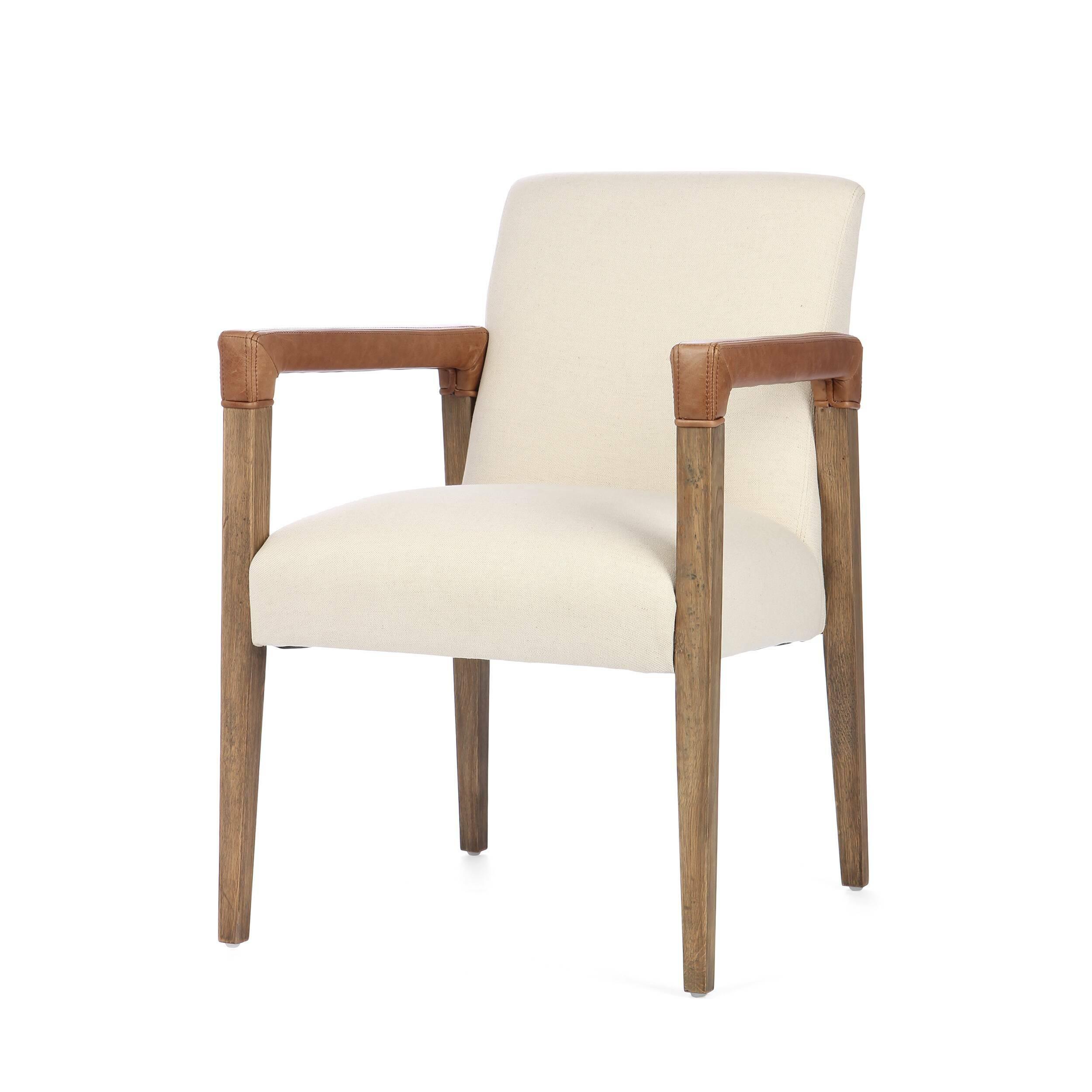 Стул RubenИнтерьерные<br>Дизайнерский мягкий стул Ruben (Рубен) с подлокотникми в стиле лофт от Cosmo (Космо).<br><br> Стул Ruben обладает весьма неординарным дизайном, который может быть отнесен как к привычной классике, так и к современному стилю лофт. Это достигается за счет смешения оформления сиденья и подлокотников. Подлокотники и ножки изделия имеют грубоватый дизайн, ассоциирующийся с популярным сегодня индустриальным стилем. Сиденье и спинка, которые смотрятся весьма контрастно на фоне подлокотников, выполнены в...<br><br>stock: 11<br>Высота: 84<br>Высота сиденья: 49.5<br>Ширина: 58.5<br>Глубина: 66<br>Цвет ножек: Коричневый<br>Материал ножек: Массив дуба<br>Материал сидения: Хлопок<br>Цвет сидения: Бежевый<br>Тип материала сидения: Ткань<br>Тип материала ножек: Дерево