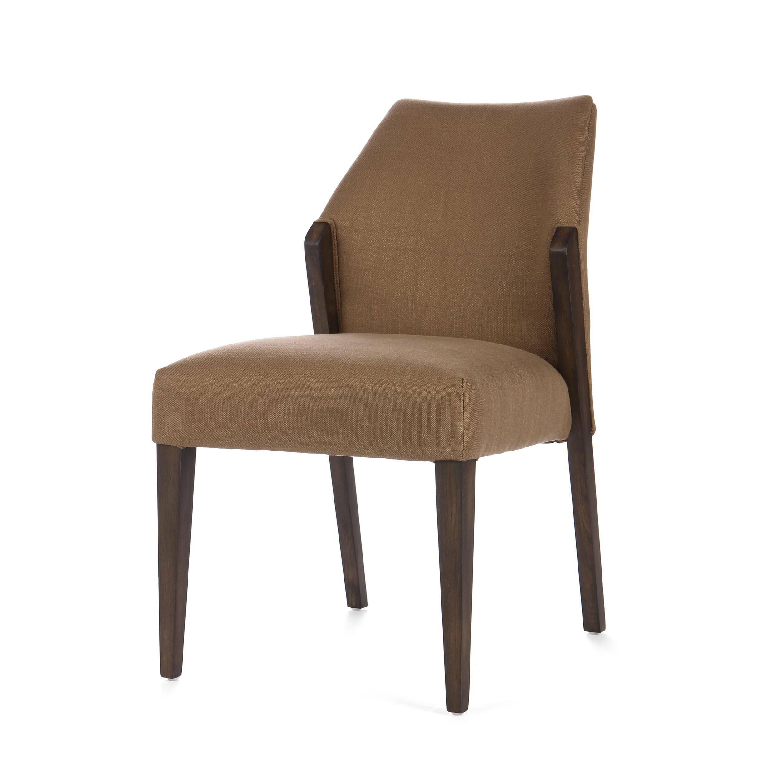 Стул DaltonИнтерьерные<br>Дизайнерский мягкий стул Dalton (Дэлтон) с обивкой из ткани на дубовом каркасе от Cosmo (Космо).<br><br>     Когда хочется неоднозначности в дизайне интерьера или же смешения различных стилей, на помощь дизайнерам приходят предметы мебели, которые легко смогут вписаться как в классический, так и в любой современный интерьер. Стул Dalton универсален по своему дизайну, выполнен в спокойных, гармоничных цветовых оттенках. Форма стула также не вызывает противоречивых чувств — классический дизайн с пр...<br><br>stock: 15<br>Высота: 86<br>Высота сиденья: 51<br>Ширина: 53<br>Глубина: 66<br>Цвет ножек: Темно-коричневый<br>Материал ножек: Массив дуба<br>Материал сидения: Вискоза<br>Цвет сидения: Коричневый<br>Тип материала сидения: Ткань<br>Тип материала ножек: Дерево