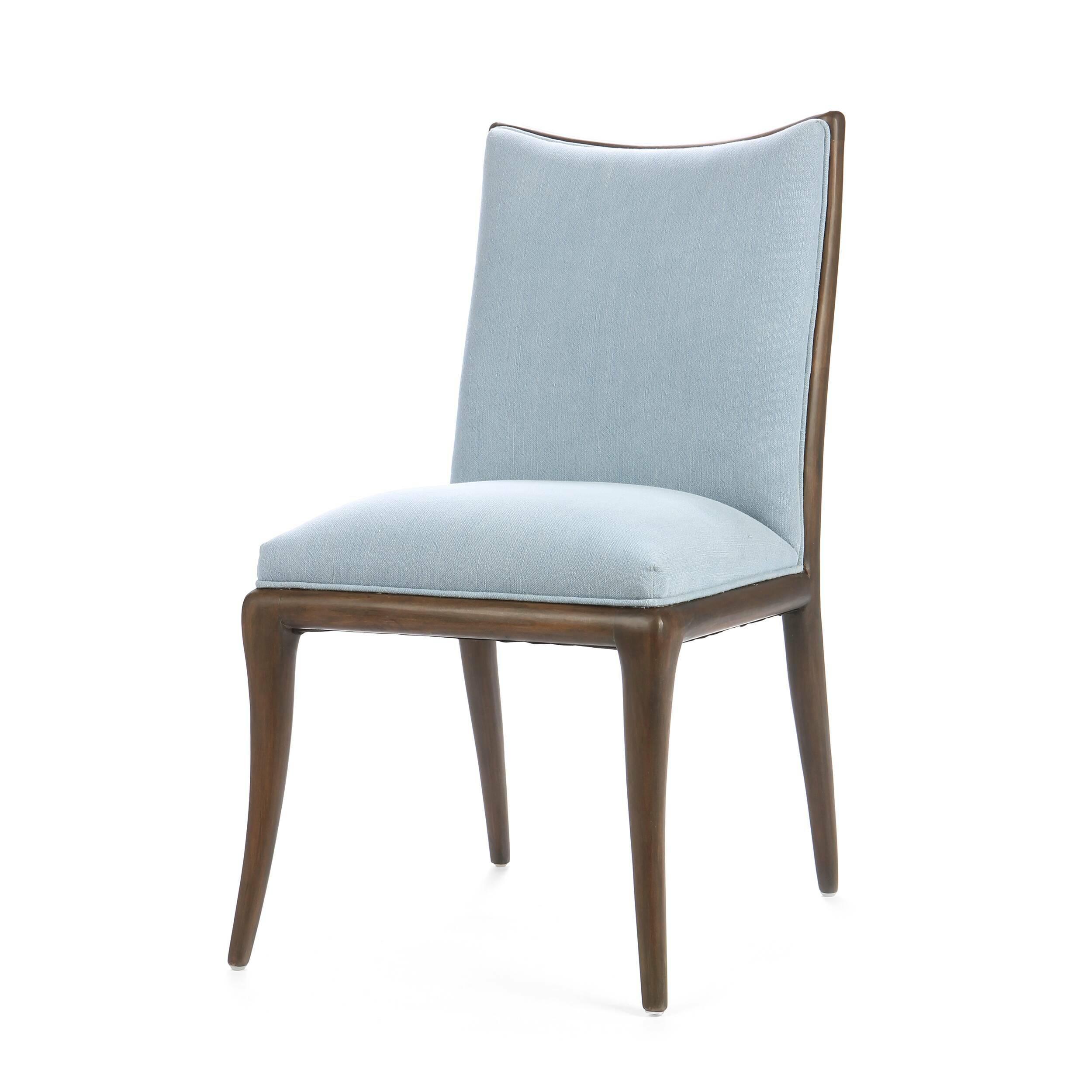 Стул FlorenceИнтерьерные<br>Дизайнерский мягкий классический стул Florence (Флоренс) без подлокотников на деревянном каркасе от Cosmo (Космо).<br><br> Стул Florence — это приятное сочетание современной классики и минималистичного оформления. Ничего лишнего, только комфорт и изящный, «теплый» дизайн. Стул представлен в двух вариантах — с обивкой, выполненной в оливковом или голубом цвете. Стоит обратить внимание и на оформление каркаса стула; отсутствие подлокотников и простые, элегантные ножки делают его весьма универсальны...<br><br>stock: 17<br>Высота: 90<br>Ширина: 46<br>Глубина: 49<br>Цвет ножек: Темно-коричневый<br>Материал ножек: Массив березы<br>Материал сидения: Хлопок<br>Цвет сидения: Голубой<br>Тип материала сидения: Ткань<br>Тип материала ножек: Дерево