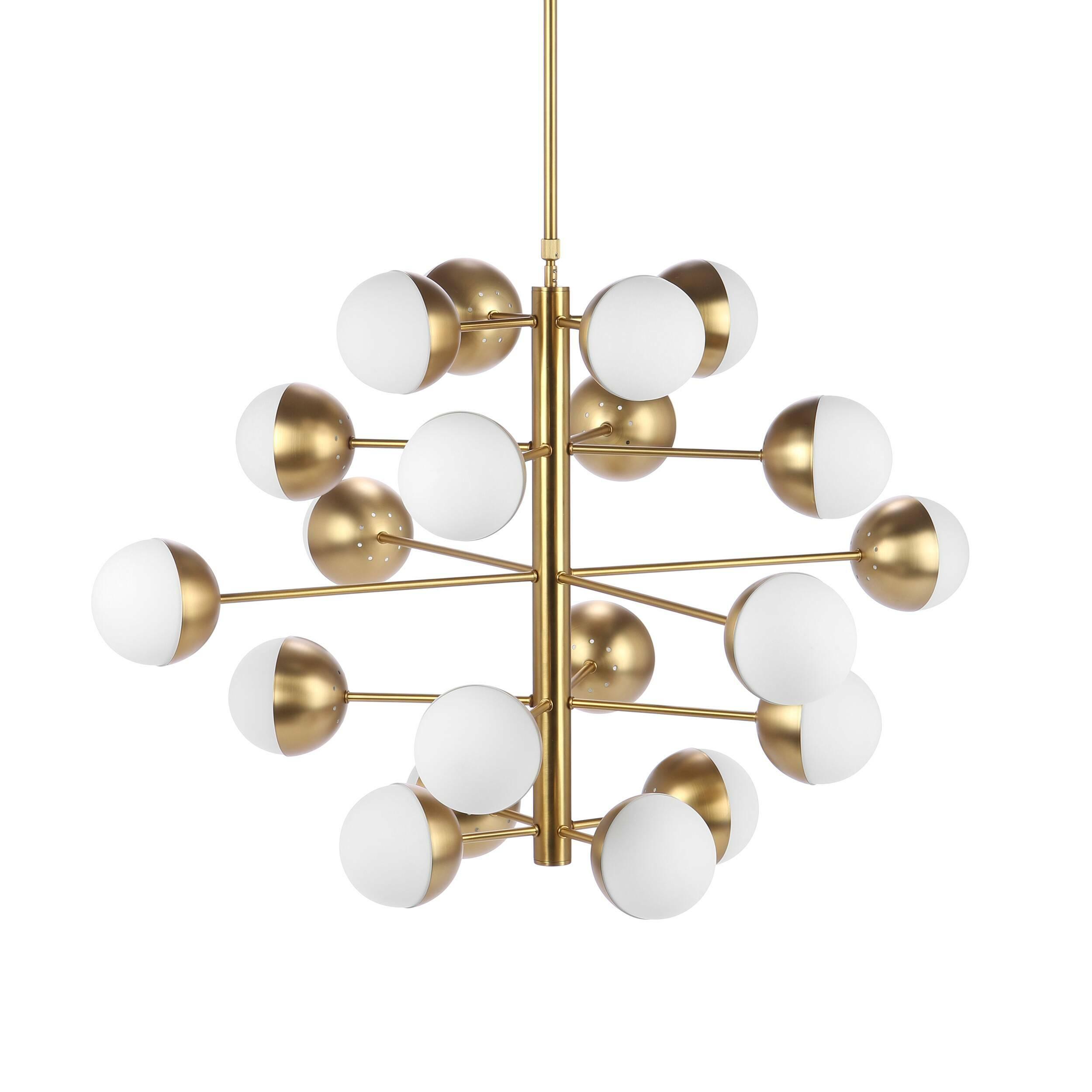 Потолочный светильник Italian Globe 20 лампПотолочные<br>Потолочный светильник Italian Globe 20 ламп — один из представителей линии, воссозданной известной дизайнерской американской фирмой Stilnovo. Эти светильники появились в шестидесятых годах XX столетия в Италии, во время расцвета стиля модерн. Как и все творения этой эпохи, потолочный светильник Italian Globe 20 ламп лаконичен и функционален. Он характеризуется простотой линий и геометричностью форм. Двадцать асимметрично расположенных плафонов сумеют ярко осветить даже самую большую комнат...<br><br>stock: 10<br>Высота: 93<br>Диаметр: 110<br>Длина провода: 135-175<br>Количество ламп: 20<br>Материал абажура: Стекло<br>Материал арматуры: Сталь<br>Мощность лампы: 40<br>Ламп в комплекте: Нет<br>Напряжение: 220-240<br>Тип лампы/цоколь: E14<br>Цвет абажура: Белый матовый<br>Цвет арматуры: Латунь<br>Цвет провода: Черный
