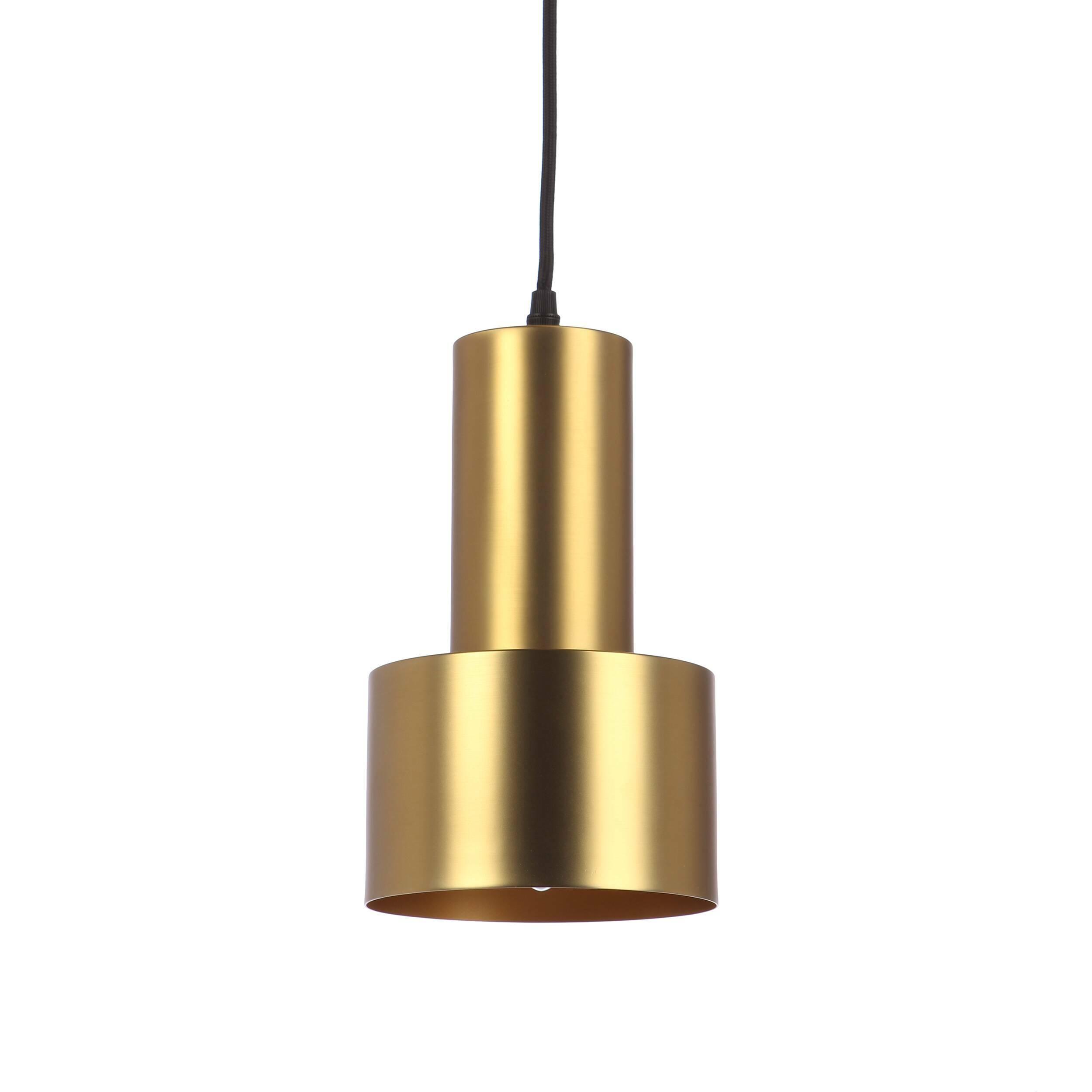 Подвесной светильник CancanПодвесные<br>Подвесной светильник Cancan может стать незаменимым другом в оформлении интерьера. Его лаконичный, но эффектный дизайн позволяет ему вписаться почти в любую обстановку. Простая геометрия форм позволяет использовать его в помещениях, оформленных в стилях модерн, минимализм, хай-тек, китч, индастриал, лофт. Один такой светильник позволяет играть со светом, расставляя световые акценты там, где это необходимо. Кроме того, такие светильники можно повесить в ряд для создания световой дорожки или...<br><br>stock: 0<br>Высота: 30<br>Диаметр: 15<br>Количество ламп: 1<br>Материал абажура: Сталь<br>Материал арматуры: Сталь<br>Мощность лампы: 60<br>Ламп в комплекте: Нет<br>Напряжение: 220-240<br>Тип лампы/цоколь: E14<br>Цвет абажура: Латунь<br>Цвет арматуры: Латунь<br>Цвет провода: Черный