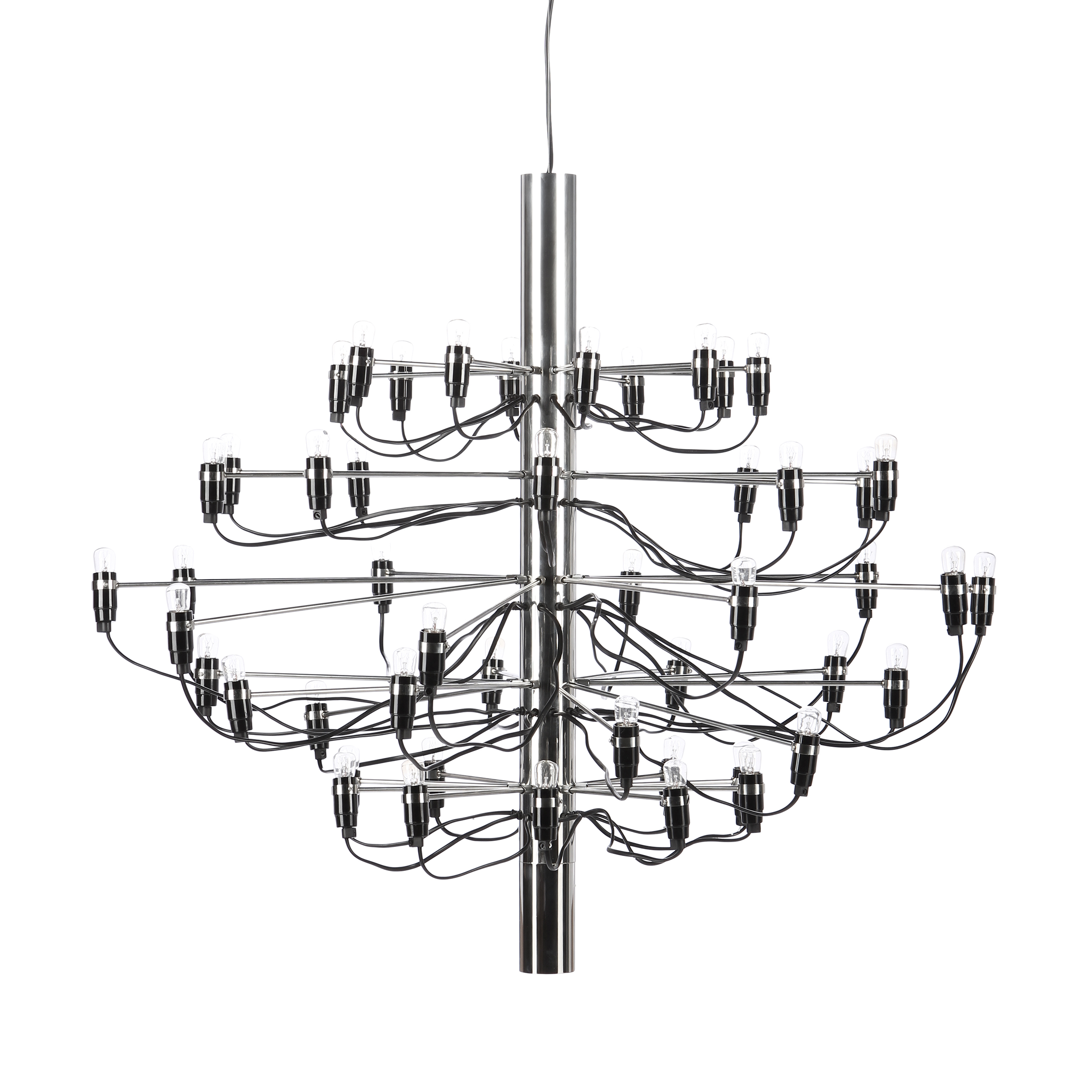 Подвесной светильник Model 2097 50 лампПодвесные<br>Подвесной светильник Model 2097 50 ламп — одна из самых популярных и лучших работ известного итальянского дизайнера Джино Сарфатти. Его называют отцом итальянского светодизайна. За свою долгую жизнь он удостоился множества наград, дважды — премии Compasso dOro, или «Золотой циркуль», в 1954 и 1955 годах.<br><br><br> Подвесной светильник Model 2097 50 ламп создан Джино Сарфатти в 1958 году, но его облик и сегодня считается ультрасовременным, неустаревающим, модным. Целей у именитого итальянца бы...<br><br>stock: 7<br>Высота: 88<br>Диаметр: 100<br>Длина провода: 300<br>Количество ламп: 50<br>Материал абажура: Сталь<br>Мощность лампы: 15<br>Ламп в комплекте: Да<br>Напряжение: 220-240<br>Тип лампы/цоколь: E14<br>Цвет абажура: Сталь<br>Цвет провода: Черный