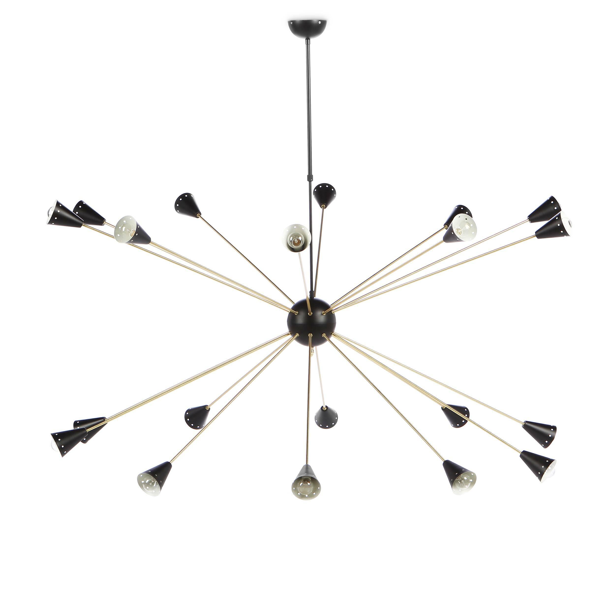 Потолочный светильник Arteriors StyleПотолочные<br>Потолочный светильник Arteriors Style — один из итальянских светильников шестидесятых годов XX века, воссозданный американской компанией Stilnovo. Stilnovo буквально обозначает «новый стиль». Эта марка известна своим необычным подходом к созданию светильников. Прежде всего они не просто делают лампы в стиле модерн, они создают новые направления и задают тон этого стиля уже много лет.<br><br><br> Потолочный светильник Arteriors Style не исключение. Лаконичность и функциональность будто воплощены ...<br><br>stock: 0<br>Высота: 180<br>Диаметр: 180<br>Длина провода: 95-125<br>Количество ламп: 20<br>Материал абажура: Сталь<br>Материал арматуры: Сталь<br>Мощность лампы: 25<br>Ламп в комплекте: Нет<br>Напряжение: 220-240<br>Тип лампы/цоколь: E14<br>Цвет абажура: Черный<br>Цвет арматуры: Латунь<br>Цвет провода: Черный