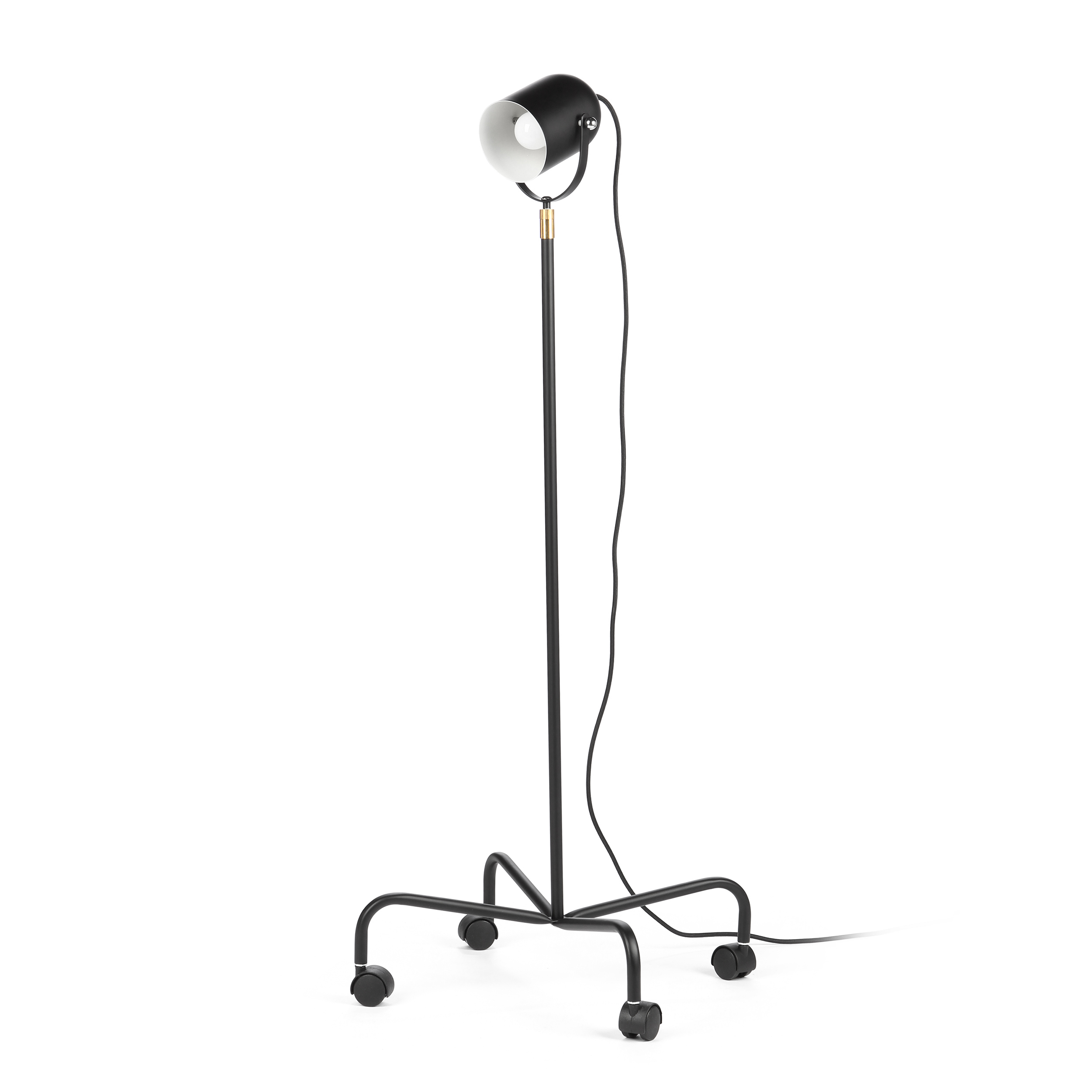 Напольный светильник TrundleНапольные<br>Напольный светильник Trundle — это универсальный светильник, который не только впишется в любой интерьер, но может еще и свободно по нему перемещаться. Его можно отнести сразу к нескольким стилям из-за его формы.<br><br><br> Светильник выполнен в форме маленького прожектора, который может одинаково стильно смотреться как на фабрике, в клубе, в ресторане, на сцене, так и в современной квартире-студии.<br><br><br> Низ светильника представляет собой четыре ножки на колесиках, это позволит вам передвига...<br><br>stock: 0<br>Высота: 120-160<br>Количество ламп: 1<br>Материал абажура: Сталь<br>Материал арматуры: Металл<br>Мощность лампы: 60<br>Ламп в комплекте: Нет<br>Напряжение: 220-240<br>Тип лампы/цоколь: E27<br>Цвет абажура: Черный<br>Цвет арматуры: Черный<br>Цвет провода: Черный