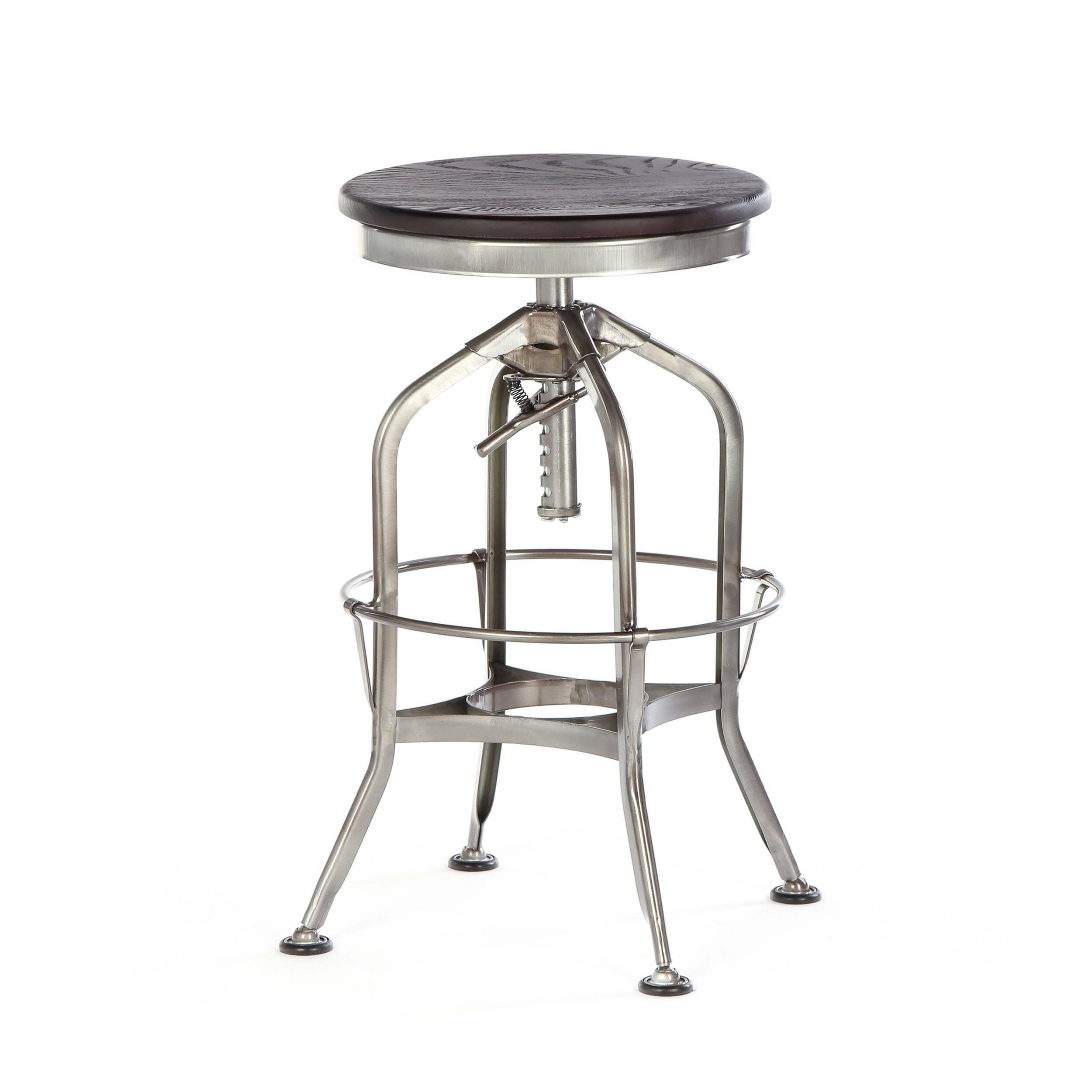 Барный стул Toledo Rondeau без спинкиБарные<br>Дизайнерский  металлический барный стул Toledo Rondeau (Толедо Рондо) без спинки с деревянным сиденьем от Cosmo (Космо).<br><br> Удобный и легкий барный стул Toledo Rondeau без спинки подходит для тех, кто ценит естественный симбиоз эстетичного дизайна и высокого качества. Сочетание стали и дерева выгоднее всего будет смотреться с кирпичной кладкой лофта или в сочетании с деревянными панелями, также эта модель будет органична в интерьерах эко или индустриального стиля.<br><br><br> Изначально стул был...<br><br>stock: 14<br>Высота: 62-73<br>Диаметр: 42<br>Цвет ножек: Бронза пушечная<br>Материал сидения: Массив ясеня<br>Цвет сидения: Темно-коричневый<br>Тип материала сидения: Дерево<br>Тип материала ножек: Сталь