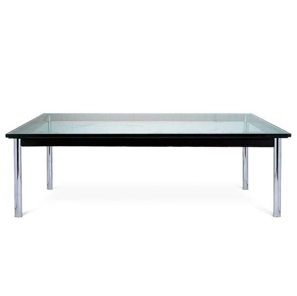 Кофейный стол LC10Кофейные столики<br>Дизайнерский широкий кофейный стол LC10 (ЛС10) с прозрачной столешницой от Cosmo (Космо).<br><br> Низкий оригинальный кофейный стол LC10 от Ле Корбюзье подчеркнет облик любого пространства и станет идеальным дополнением интерьеров, оформленных в совершенно разных стилях.<br><br><br> Столешница из 15-миллиметрового закаленного стекла и подстолье из прочной стали — классический вариант журнального стола, который подойдет для гостиной, для комнат отдыха в офисных центрах, для гостиничных лобби или барны...<br><br>stock: 0<br>Высота: 33,5<br>Ширина: 120<br>Диаметр: 80<br>Цвет ножек: Хром<br>Цвет столешницы: Прозрачный<br>Тип материала столешницы: Стекло закаленное<br>Тип материала ножек: Сталь нержавеющая