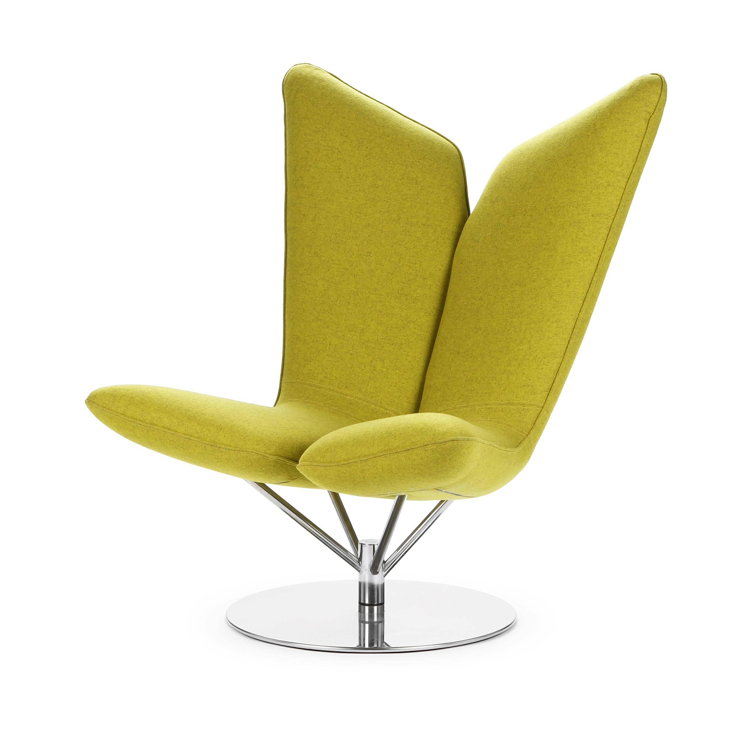 Кресло AngelИнтерьерные<br>Дизайнерское удобное кресло Angel (Ангел) в форме крыльев из тканевой обивки от Softline (Софтлайн).<br> <br><br><br> Кресло Angel — творение датского дуэта Флемминга Буска и Стефана Б.Херцога. Конструкции Буска и Херцога описываются выражениями «чистые» и «минималистичные»; их работы — это скульптурные формы с включением горизонтальных и вертикальных линий и геометрических фигур. Их проекты сочетают смелые цвета с явным указанием на датское дизайнерское наследие. Буск и Херцог развивают свои дизай...<br><br>stock: 0<br>Высота: 102<br>Высота сиденья: 42<br>Ширина: 81<br>Глубина: 76<br>Цвет ножек: Хром<br>Материал обивки: Шерсть, Полиамид<br>Коллекция ткани: Felt<br>Тип материала обивки: Ткань<br>Тип материала ножек: Сталь нержавеющая<br>Цвет обивки: Желтый