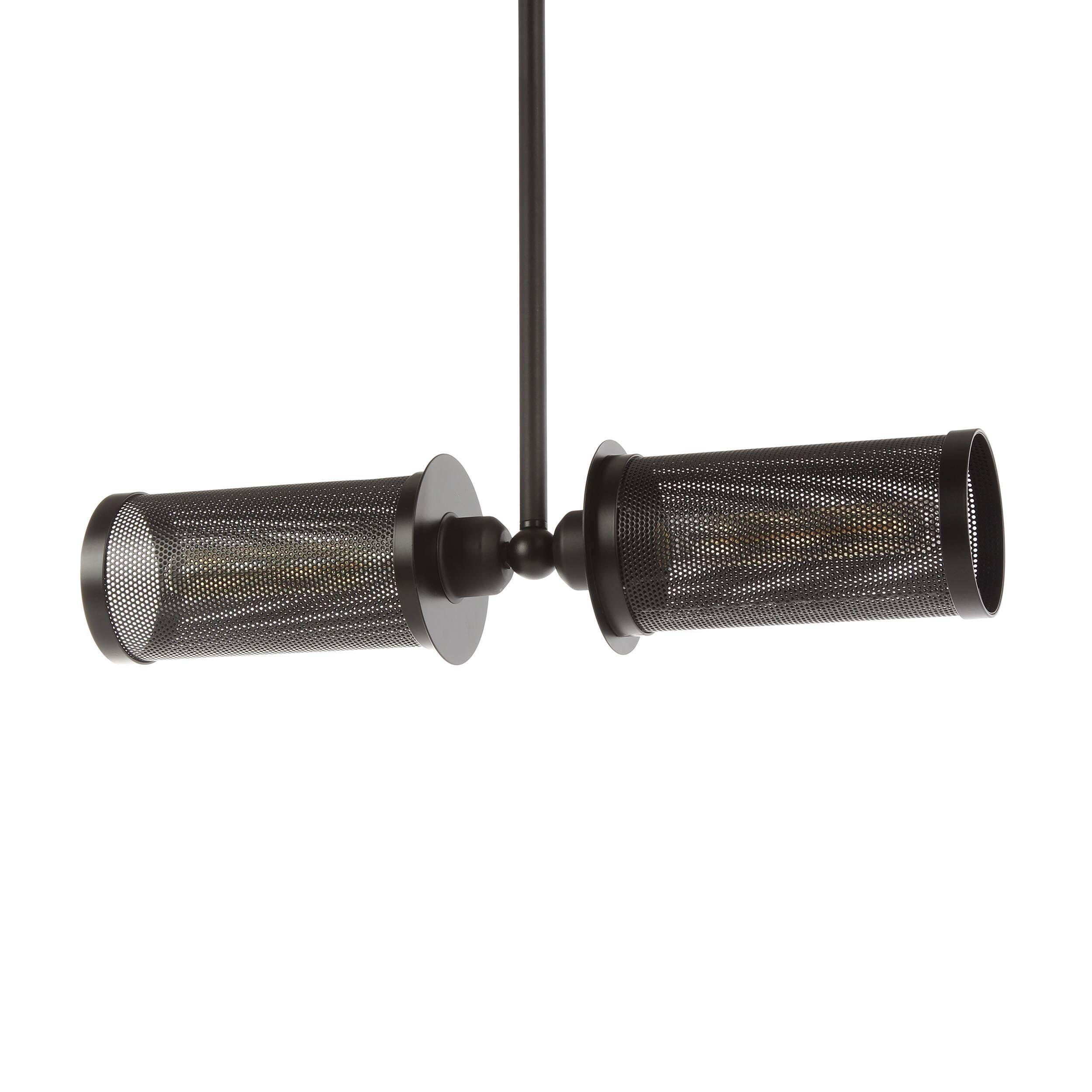 Подвесной светильник LehniПодвесные<br>Подвесной светильник Lehni — это оригинальное творение лучших дизайнеров компании Cosmo, которые предусмотрели возможность его использования как в домашнем интерьере, так и в общественных помещениях. Светильник имеет две лампочки, направленные в противоположные стороны, благодаря чему достигается эффект наибольшего освещения. Светильник оформлен в черном цвете. Оригинальный абажур подвесного светильника Lehni изготовлен из прочного металла. Абажур крепится к широкому металлическому стержню...<br><br>stock: 20<br>Высота: 70<br>Ширина: 55<br>Диаметр: 10<br>Количество ламп: 2<br>Материал абажура: Металл<br>Мощность лампы: 60<br>Ламп в комплекте: Нет<br>Тип лампы/цоколь: E27<br>Цвет абажура: Черный<br>Цвет провода: Черный