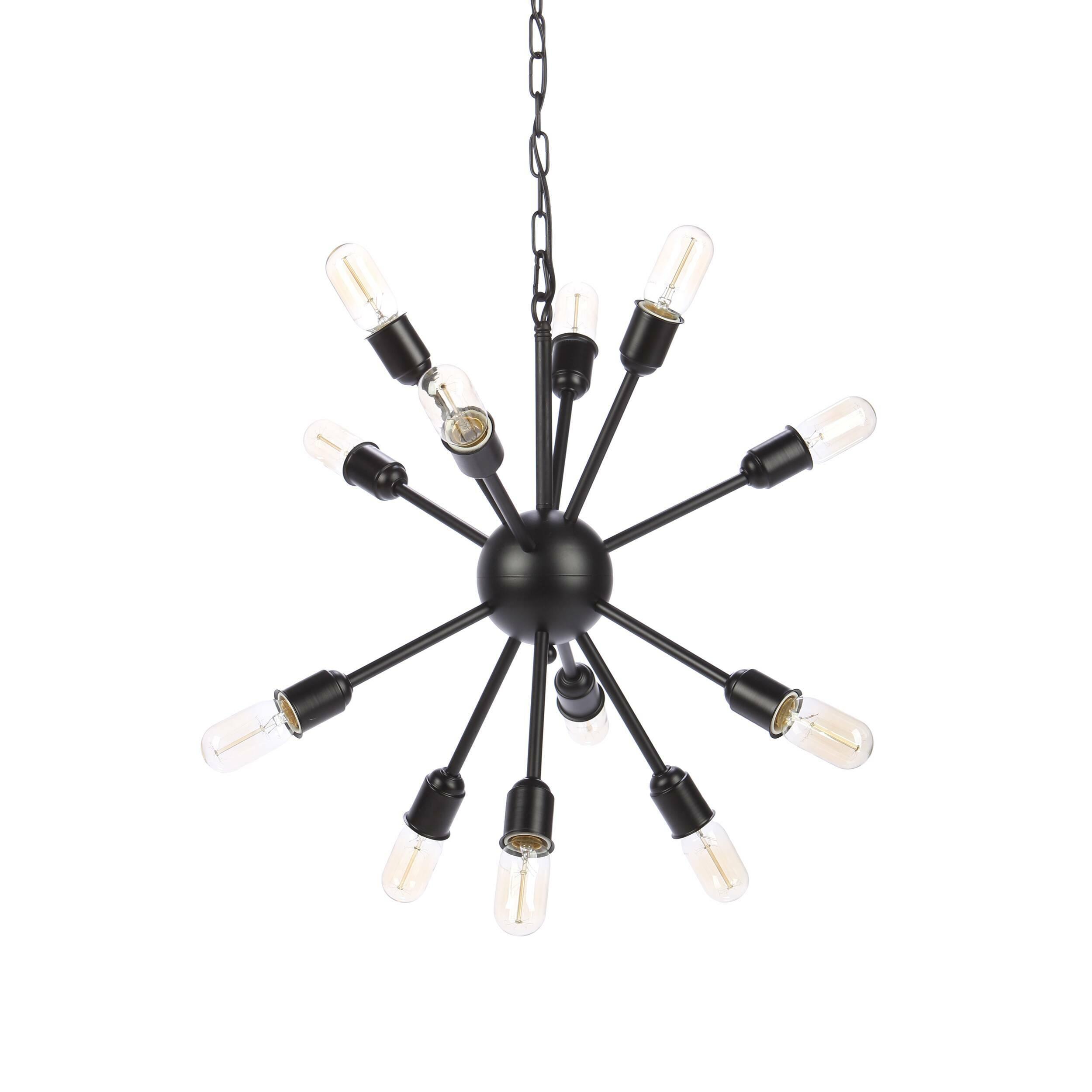 Подвесной светильник Molecule Lighting 12 лампПодвесные<br>Интересное оригинальное оформление помещения осветительными приборами — один из самых необходимых пунктов создания современного интерьера. Подвесной светильник Molecule Lighting 12 ламп создан лучшими дизайнерами компании Cosmo и, как ясно из его названия, напоминает собой своеобразную молекулу некоего химического вещества. Вся конструкция оригинального подвесного светильника Molecule Lighting 12 ламп изготовлена из металла черного цвета. Светильник имеет 12 цоколей для лампочек.<br><br><br> С...<br><br>stock: 33<br>Высота: 41<br>Ширина: 68<br>Длина: 54<br>Длина провода: 150<br>Количество ламп: 12<br>Материал абажура: Металл<br>Мощность лампы: 60<br>Ламп в комплекте: Нет<br>Тип лампы/цоколь: E27<br>Цвет абажура: Черный<br>Цвет провода: Черный