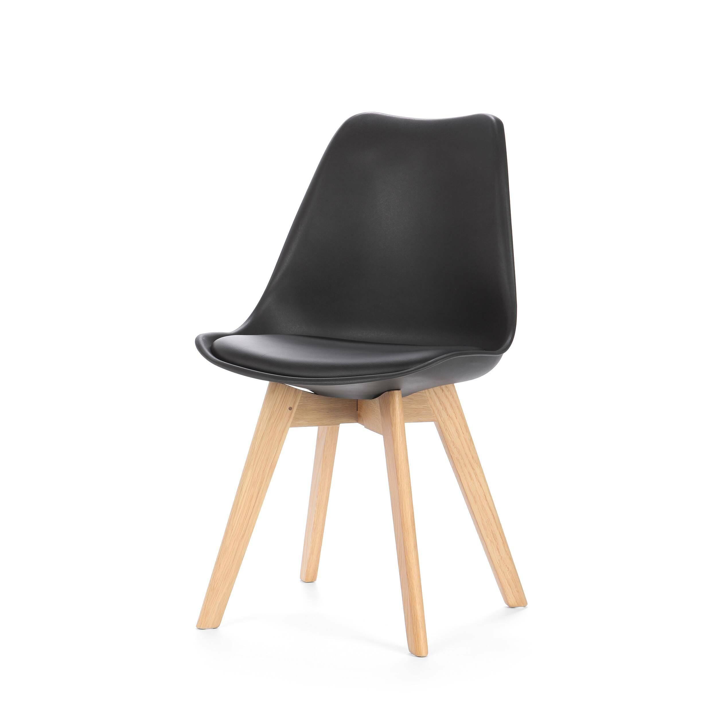 Стул SephiИнтерьерные<br>Дизайнерский креативный легкий однотонный стул Sephi (Сефи) из полиуретана на деревянных ножках от Cosmo (Космо).<br>Универсальный благодаря способности сочетаться с разными по стилю интерьерами, дизайн стула Sephi, возможно, как раз то, что вы искали. Даже если спустя время вы решили затеять ремонт, будьте уверены: и для него стул Sephi подойдет прекрасно! Экспериментируя с цветами стен, напольного покрытия или аксессуаров, создавая собственные дизайн-проекты, непременно включите в них и этот ...<br><br>stock: 219<br>Высота: 84<br>Ширина: 48.5<br>Глубина: 54.5<br>Цвет ножек: Белый дуб<br>Материал ножек: Массив дуба<br>Тип материала каркаса: Пластик<br>Материал сидения: Полиуретан<br>Цвет сидения: Черный<br>Тип материала сидения: Кожа искусственная<br>Тип материала ножек: Дерево<br>Цвет каркаса: Черный