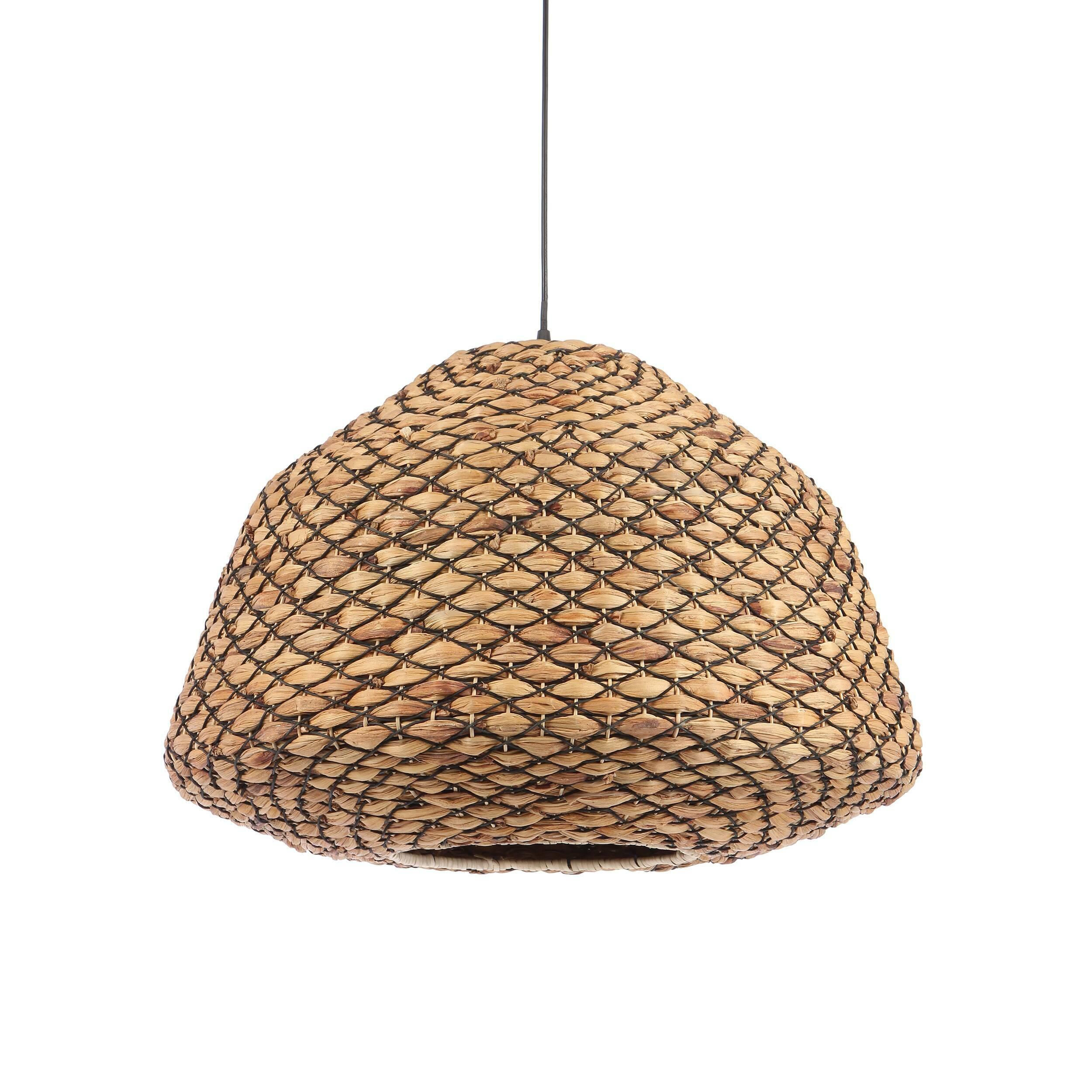 Подвесной светильник Hyacinth BasketПодвесные<br>С чего начинается интерьер в стиле эко? С натуральных материалов, текстиля в природных цветах, лаконичной мебели и минимум декора. Так выглядит классический экоинтерьер в глазах простого обывателя. Однако не стоит забывать о качестве, формах и размерах. Подбирая для себя красивый светильник, задержитесь хотя бы на мгновенье на данной модели — подвесном светильнике Hyacinth Basket. Довольно объемный по размерам и лаконичный в деталях светильник также порадует вас своим качеством. Сплетенны...<br><br>stock: 10<br>Высота: 46<br>Диаметр: 63<br>Количество ламп: 1<br>Материал абажура: Гиацинт<br>Материал арматуры: Металл<br>Мощность лампы: 40<br>Ламп в комплекте: Нет<br>Напряжение: 220-240<br>Тип лампы/цоколь: E27<br>Цвет абажура: Коричневый<br>Цвет арматуры: Черный<br>Цвет провода: Черный