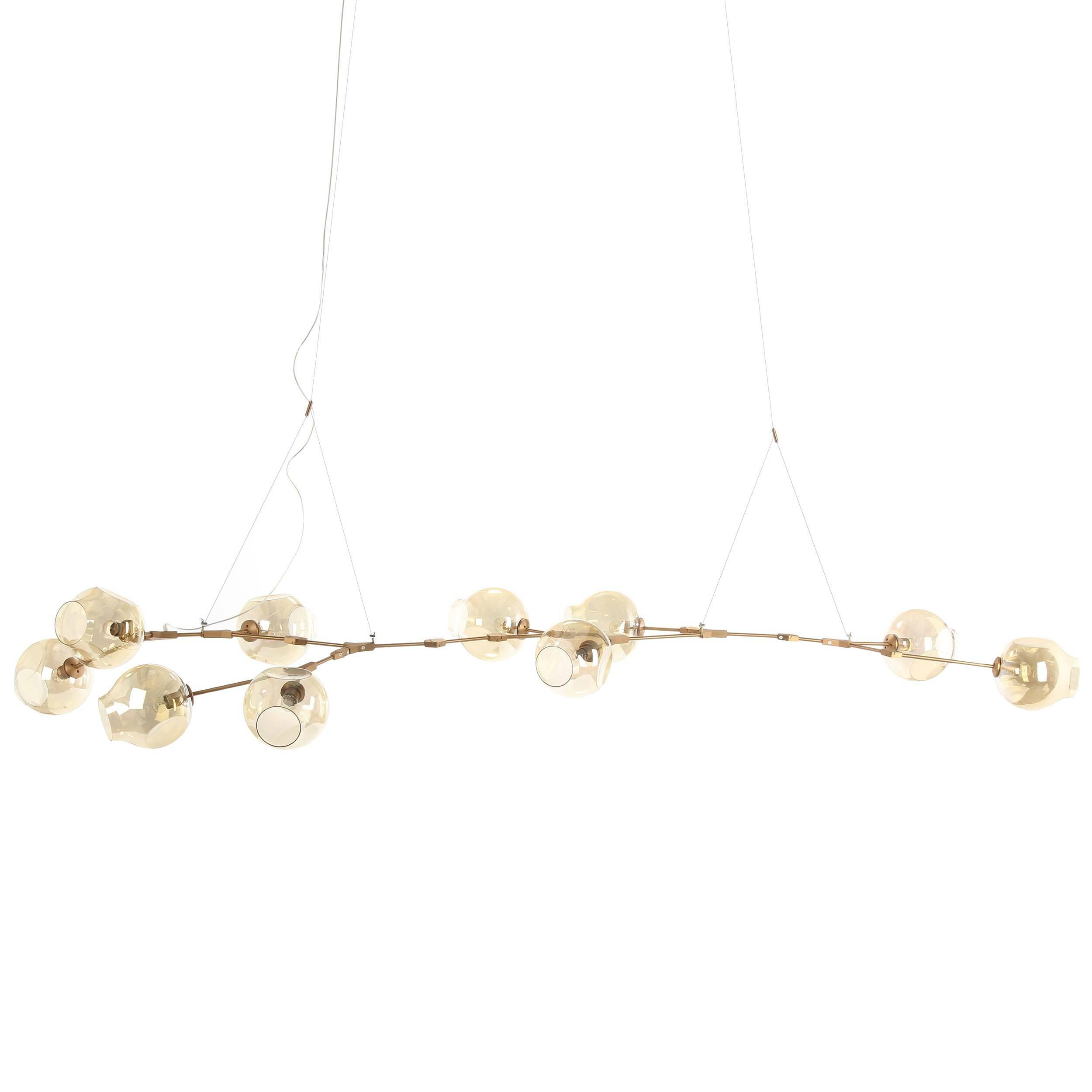 Подвесной светильник Branching Bubbles Summer 10 лампПодвесные<br>Вдохновленная красотой природных явлений, популярнейший американский дизайнер Линдси Адельман создала уникальное изделие, которое гармонично сочетает в себе черты индустриального прогресса и природные формы. Работы Адельман — это не просто осветительные приборы, но маленькие произведения искусства, которые завоевали себе заслуженную популярность и выставлялись во многих музеях, связанных с современным искусством дизайна.<br><br><br> Подвесной светильник Branching Bubbles Summer 10 ламп имеет де...<br><br>stock: 1<br>Высота: 40<br>Ширина: 145<br>Диаметр: 23<br>Длина: 348<br>Количество ламп: 10<br>Материал абажура: Стекло<br>Материал арматуры: Сталь<br>Мощность лампы: 40<br>Ламп в комплекте: Нет<br>Тип лампы/цоколь: E27<br>Цвет абажура: Коньячный<br>Цвет арматуры: Латунь