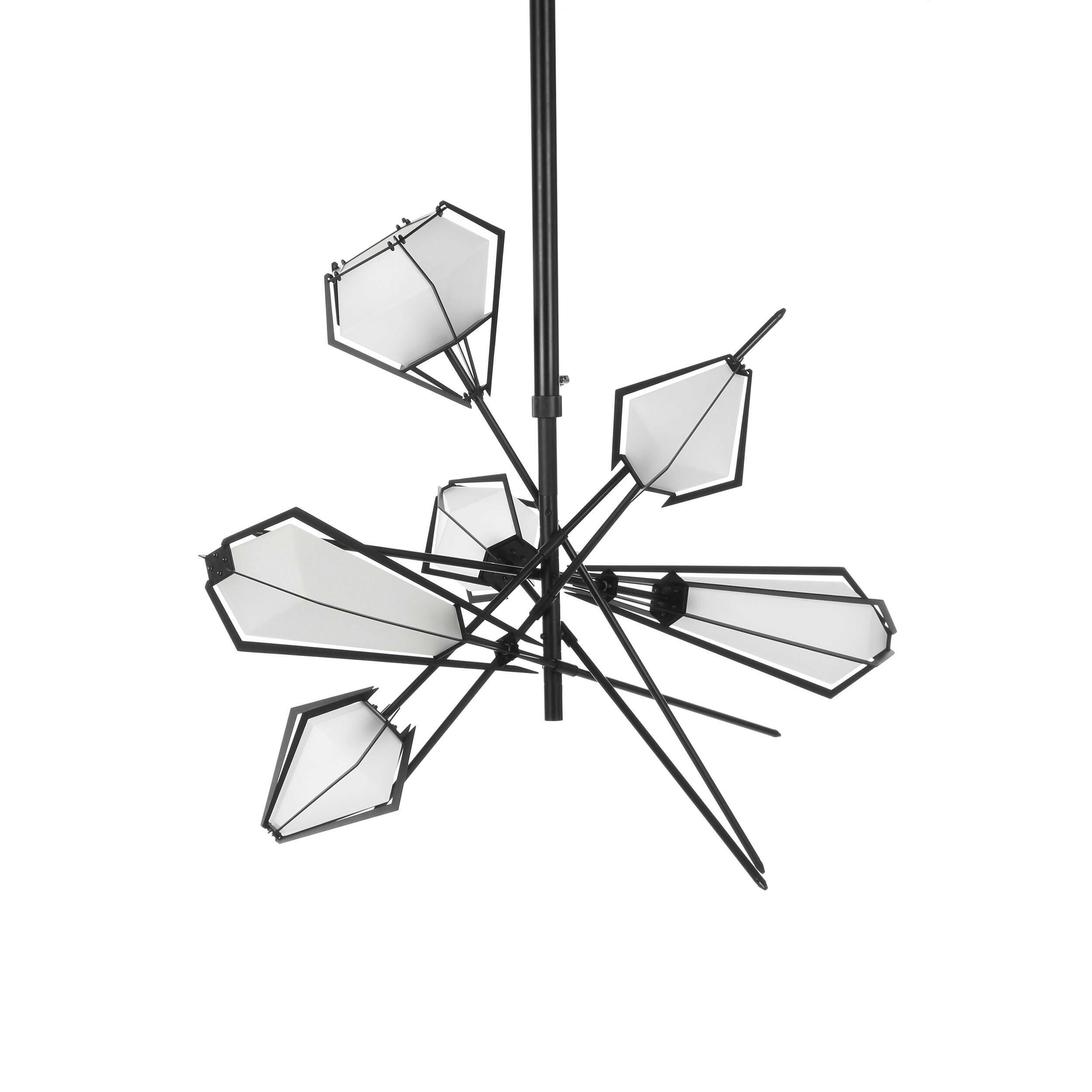 Подвесной светильник Lattice, 6 лампПодвесные<br>Подвесной светильник Lattice, 6 ламп — работа канадских дизайнеров Гэбриела Какона и Скотта Ричлера, дуэта, более известного как Гэбриел Скотт (Gabriel Scott). Как и все работы канадского дуэта, светильник имеет свой уникальный, неповторимый стиль и сочетание цвета и формы. Их необыкновенные коллекции стали популярными во всем западном мире, а осветительные изделия, похожие на яркие далекие звезды, покорили многих ценителей дизайнерского искусства.<br><br><br> Плафоны светильника изготовлены из...<br><br>stock: 3<br>Высота: 110<br>Ширина: 97,5<br>Длина: 153,5<br>Количество ламп: 6<br>Материал абажура: Стекло<br>Материал арматуры: Сталь<br>Мощность лампы: 40<br>Тип лампы/цоколь: E14<br>Цвет абажура: Белый<br>Цвет арматуры: Черный