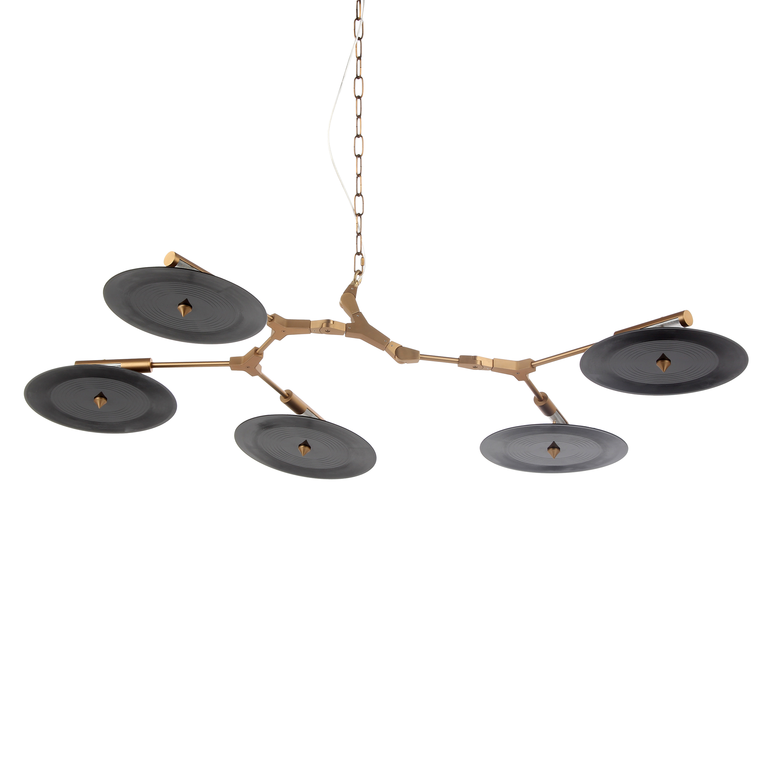 Подвесной светильник Branching Discs, 5 лампПодвесные<br>Линдси Адельман, популярный западный дизайнер, прославившаяся благодаря созданным ею осветительным приборам, создала необычайно интересное и красивое изделие — подвесной светильник Branching Discs 5 ламп, который способен легко вписаться в любой интерьер, оформленный в современном стиле. Branching Discs — это отличное решение для гармоничного освещения любого типа помещений.<br><br><br><br><br> Плафоны светильника, напоминающие собой летающие тарелки, изготовлены из прочного акрила, который в соче...<br><br>stock: 6<br>Высота: 30<br>Ширина: 90<br>Длина: 130<br>Количество ламп: 5<br>Материал абажура: Акрил<br>Материал арматуры: Сталь<br>Мощность лампы: 3<br>Ламп в комплекте: Нет<br>Напряжение: 220<br>Тип лампы/цоколь: LED<br>Цвет абажура: Черный<br>Цвет арматуры: Золотой