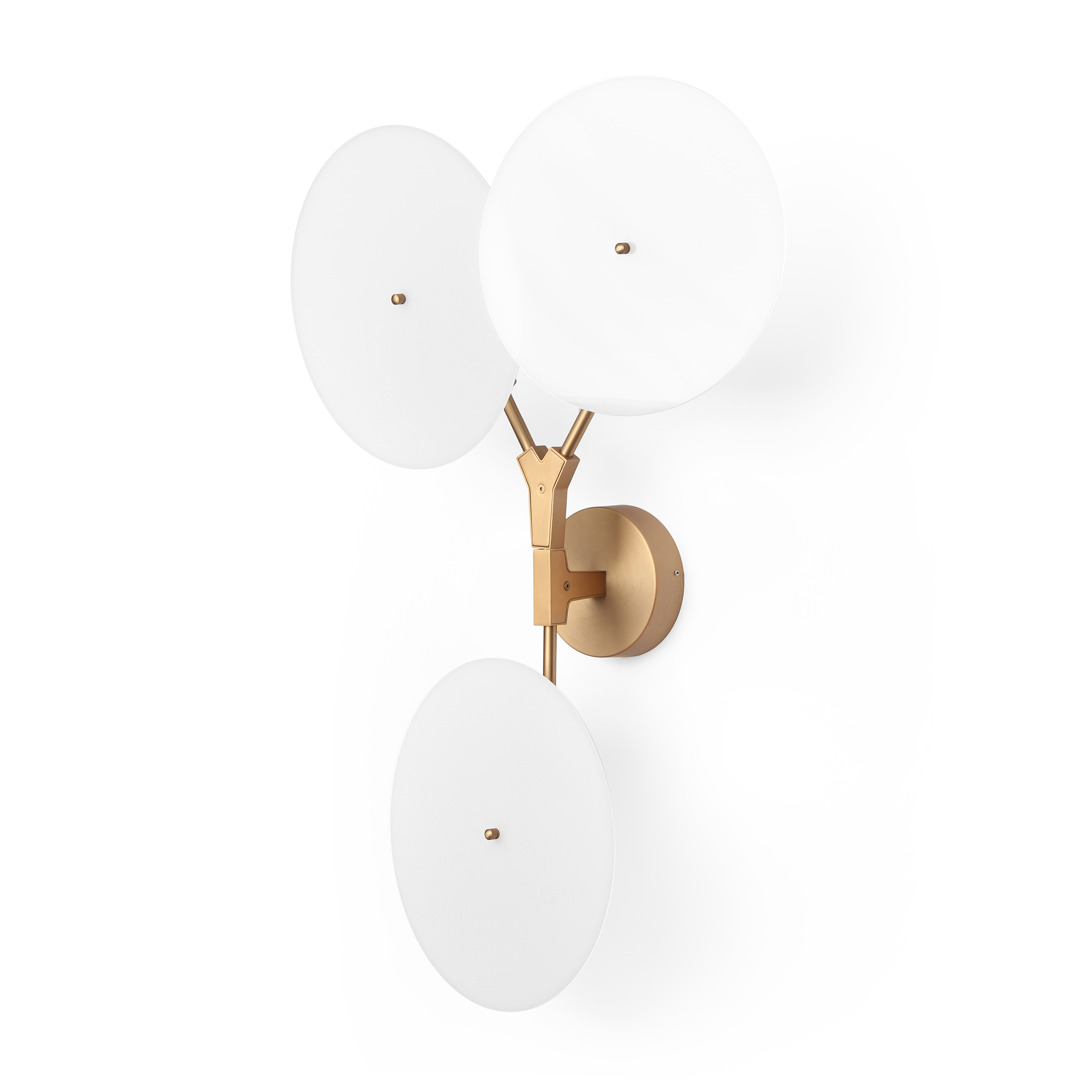 Настенный светильник Branching DiscsНастенные<br>Популярнейший дизайнер, известный своим особенным почерком в создании предметов освещения, Линдси Адельман создала необычайно интересное и красивое изделие — настенный светильник Branching Discs, который способен легко вписаться в любой интерьер, оформленный в современном стиле. Правильный источник освещения необычайно важен для положительного восприятия всей обстановки комнаты, и Branching Discs — это отличное решение для гармоничного дополнительного освещения любого типа помещений.<br><br><br>...<br><br>stock: 0<br>Высота: 80<br>Ширина: 18<br>Длина: 52<br>Количество ламп: 3<br>Материал абажура: Акрил<br>Материал арматуры: Сталь<br>Мощность лампы: 3<br>Ламп в комплекте: Нет<br>Напряжение: 220<br>Тип лампы/цоколь: LED<br>Цвет абажура: Белый<br>Цвет арматуры: Медь античная