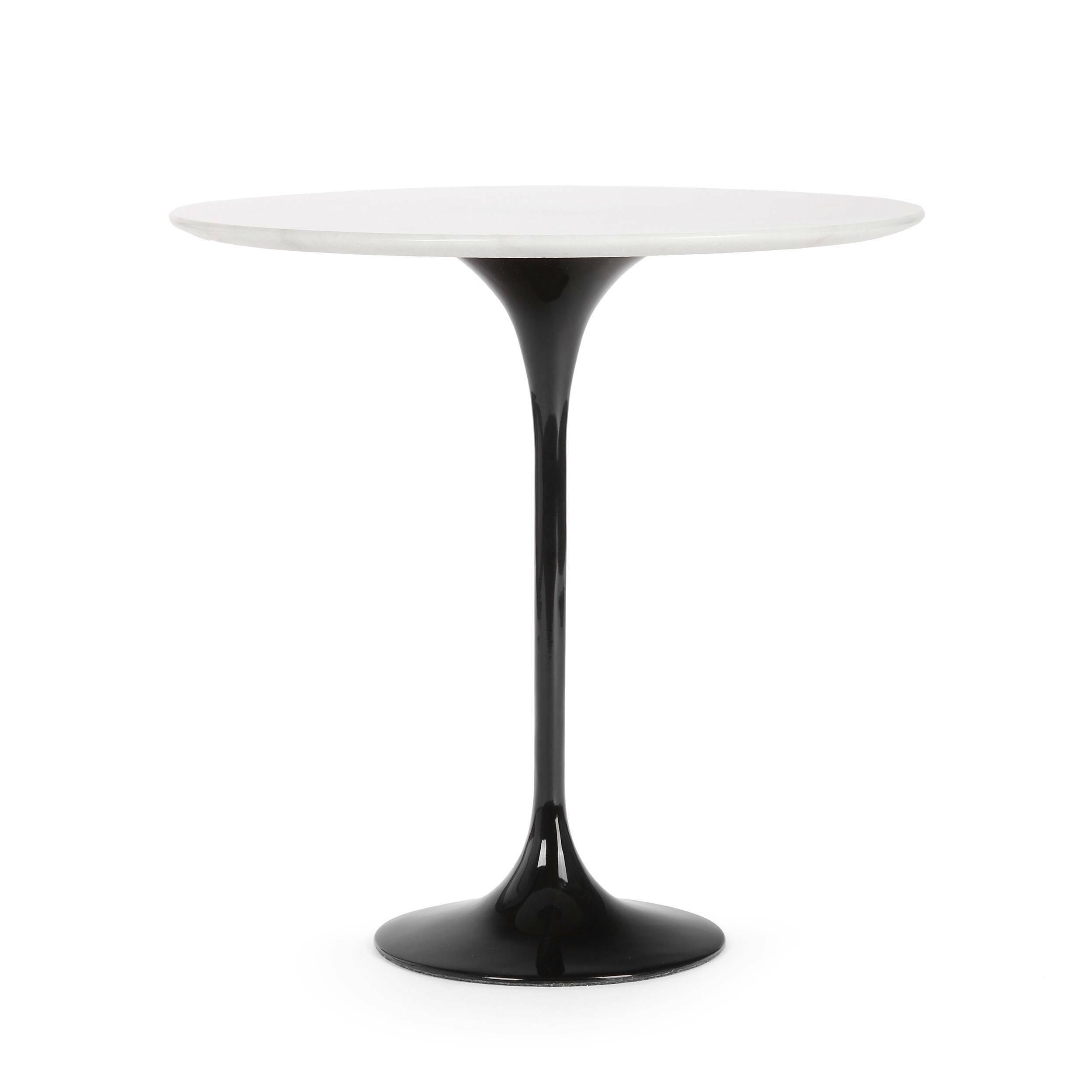 Кофейный стол Tulip с мраморной столешницей высота 52Кофейные столики<br>Дизайнерский кофейный круглый стол Tulip (Тулип) высота 52 с мраморной столешницей на одной ножке от Cosmo (Космо).<br><br><br> У каждого знаменитого дизайнера прошлого столетия есть своя «формула вечного дизайна», а значит, есть и произведения дизайнерского искусства, которые уже много лет не выходят из моды, не теряют своей актуальности и востребованы по сей день. Оригинальный стол Tulip как раз был разработан при помощи такой формулы, которую вывел Ээро Сааринен, знаменитый американский архит...<br><br>stock: 0<br>Высота: 52,5<br>Диаметр: 52<br>Цвет ножек: Черный<br>Цвет столешницы: Белый<br>Материал столешницы: Мрамор китайский<br>Тип материала столешницы: Мрамор<br>Тип материала ножек: Алюминий