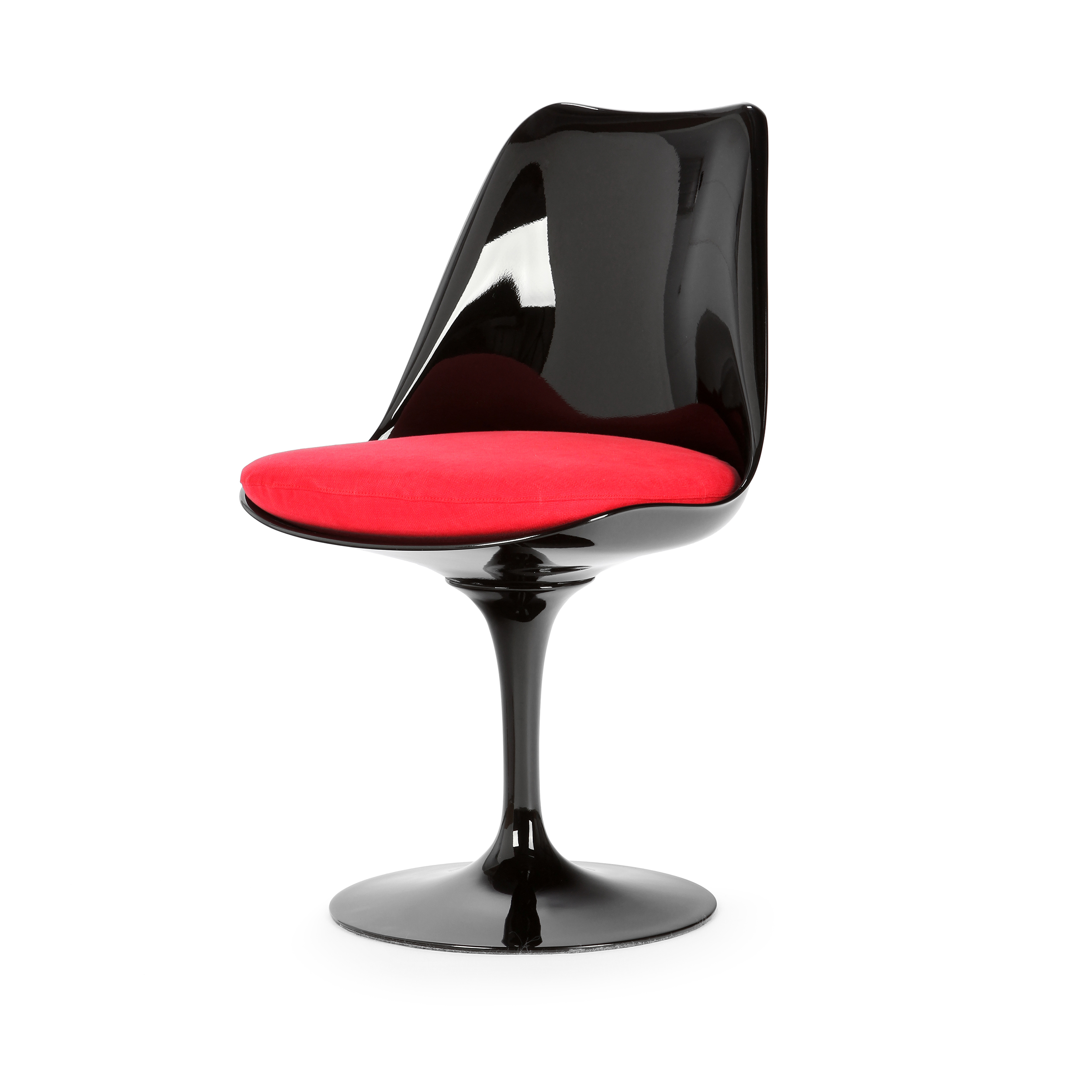 Стул TulipИнтерьерные<br>Дизайнерский стул Tulip (Тьюлип) из стекловолокна на алюминиевой ножке от Cosmo (Космо).<br><br> Стул Tulip — это один из самых знаменитых предметов мебели, он был разработан в 1958 году Ээро Саариненом. Поистине футуристический дизайн и классика модерна. Первый в мире одноногий стул изменил будущее дизайна мебели. Формой стул напоминает бокал или, как видно из названия, — тюльпан. Уникальное основание постамента обеспечивает устойчивость и выглядит эстетически привлекательным. Избавив стул от тр...<br><br>stock: 3<br>Высота: 81<br>Высота сиденья: 46<br>Ширина: 49,5<br>Глубина: 53<br>Цвет ножек: Черный глянец<br>Механизмы: Поворотная функция<br>Тип материала каркаса: Стекловолокно<br>Материал сидения: Хлопок, Лен<br>Цвет сидения: Красный<br>Тип материала сидения: Ткань<br>Коллекция ткани: Ray Fabric<br>Тип материала ножек: Алюминий<br>Цвет каркаса: Черный глянец