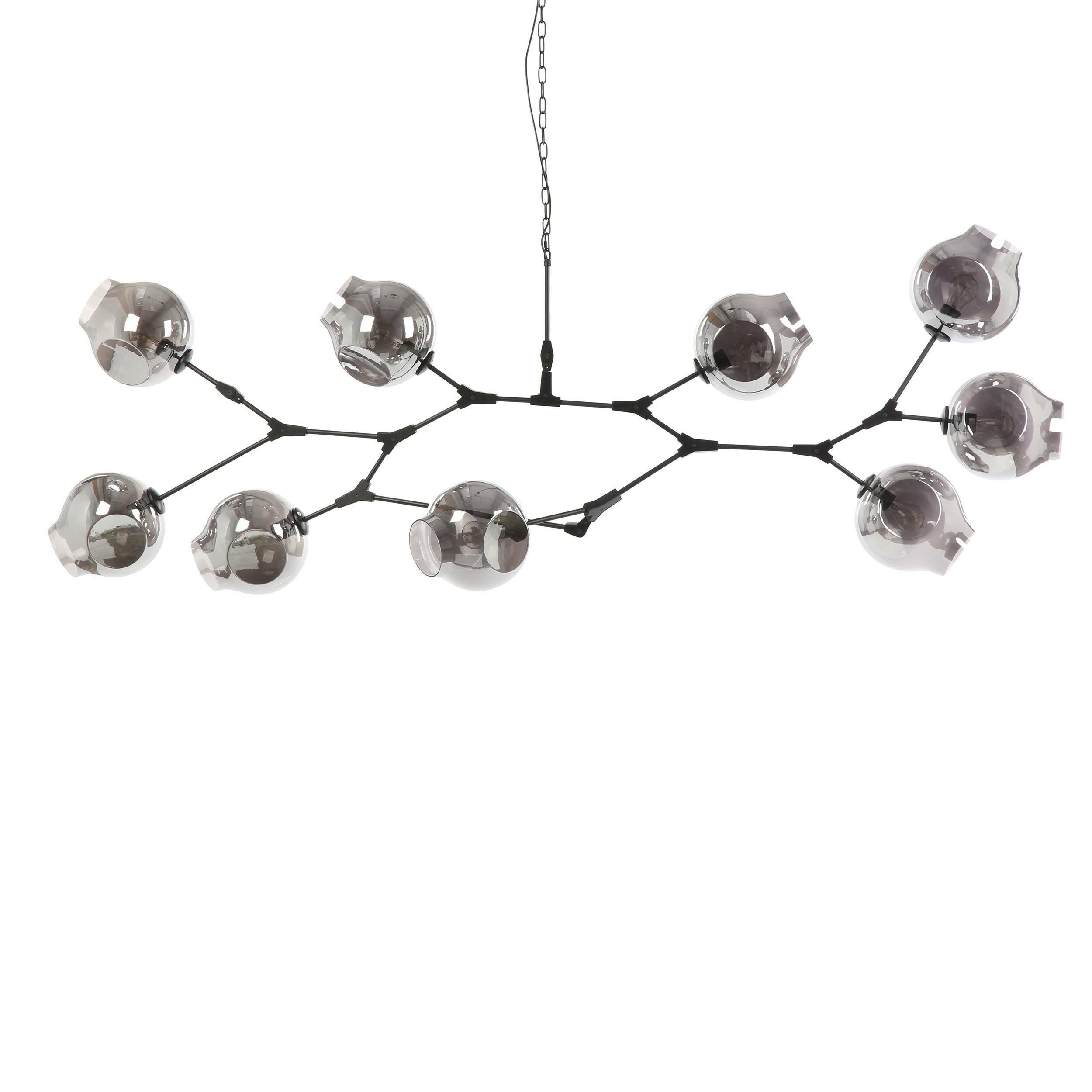 Подвесной светильник Branching Bubbles Summer 9 лампПодвесные<br>Линдси Адельман, известный западный дизайнер, чьи работы обладают особенным шармом и творческим почерком, создает необычайно стильные и красивые источники освещения, которые сочетают в себе оригинальный внешний вид, особую надежность и прочность благодаря используемым материалам и их сочетаниям. Подвесной светильник Branching Bubbles Summer 9 ламп представляет собой затейливую конструкцию, напоминающую длинную ветвь с волшебными пузырями.<br><br><br><br><br> Плафоны светильника изготовлены из каче...<br><br>stock: 0<br>Высота: 95<br>Ширина: 80<br>Диаметр: 23<br>Длина: 223<br>Количество ламп: 9<br>Материал абажура: Стекло<br>Материал арматуры: Сталь<br>Мощность лампы: 40<br>Ламп в комплекте: Нет<br>Напряжение: 220<br>Тип лампы/цоколь: E27<br>Цвет абажура: Дымчато-серый<br>Цвет арматуры: Черный