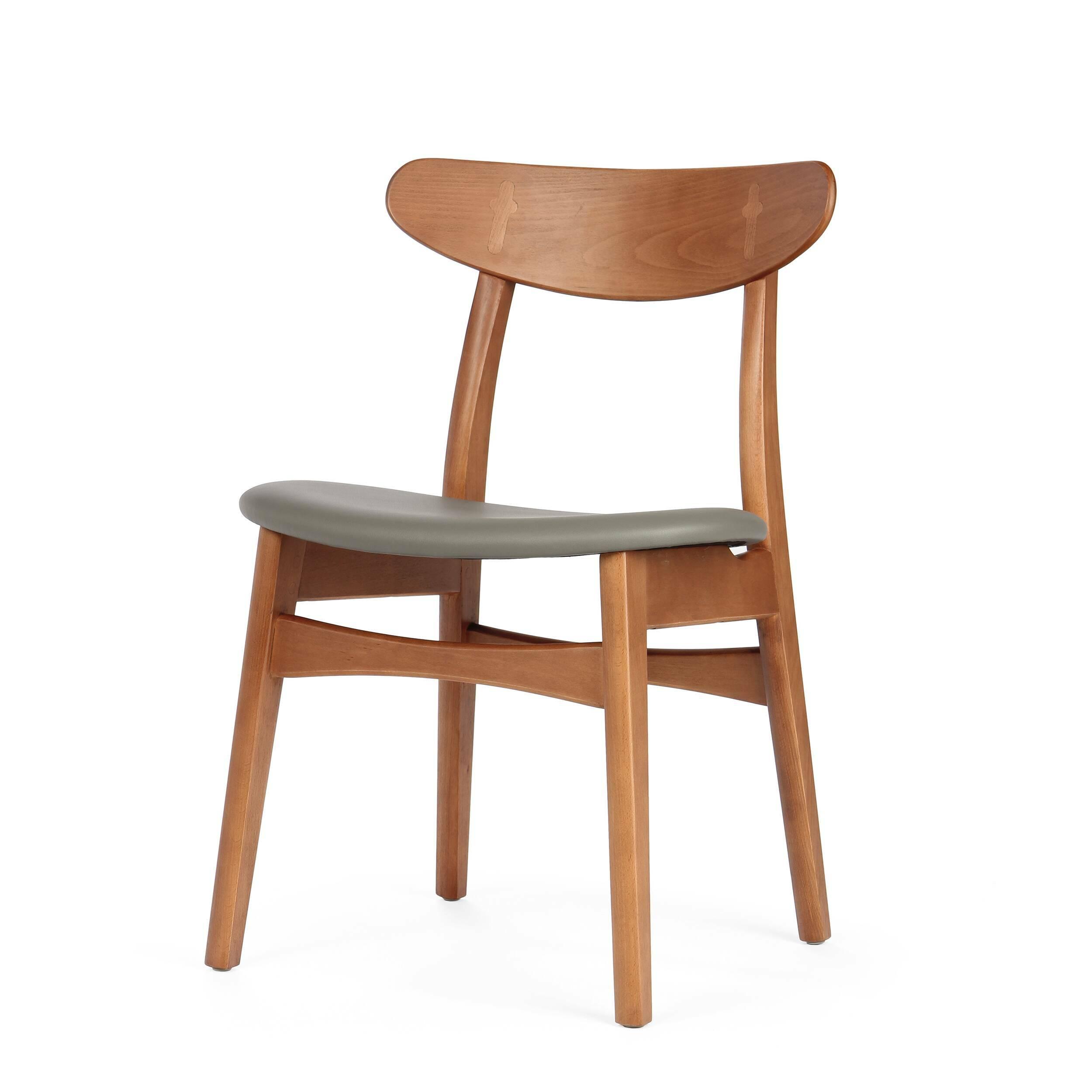 Стул Dutch 2Интерьерные<br>Дизайнерский деревянный стул Dutch 2 (Дуч 2) с мягким сиденьем от Cosmo (Космо).<br><br>     Порой некоторые предметы интерьера так и претендуют стать главными героями вашего дома. И вот уже некогда «гость» за обеденным столом становится полноценным членом семьи, взамен предлагая комфорт и уют.<br><br><br> Стул Dutch 2 как раз из их числа. Благодаря стильному и лаконичному дизайну у него есть все шансы стать незаменимым помощником во время трапез за семейным обеденным столом. <br><br><br>     Сложная на вид ...<br><br>stock: 6<br>Высота: 78,5<br>Высота сиденья: 44,5<br>Ширина: 53<br>Глубина: 49<br>Материал каркаса: Массив бука<br>Тип материала каркаса: Дерево<br>Материал сидения: Полиуретан<br>Цвет сидения: Темно-серый<br>Тип материала сидения: Кожа искусственная<br>Коллекция ткани: Premium Grade PU<br>Цвет каркаса: Орех