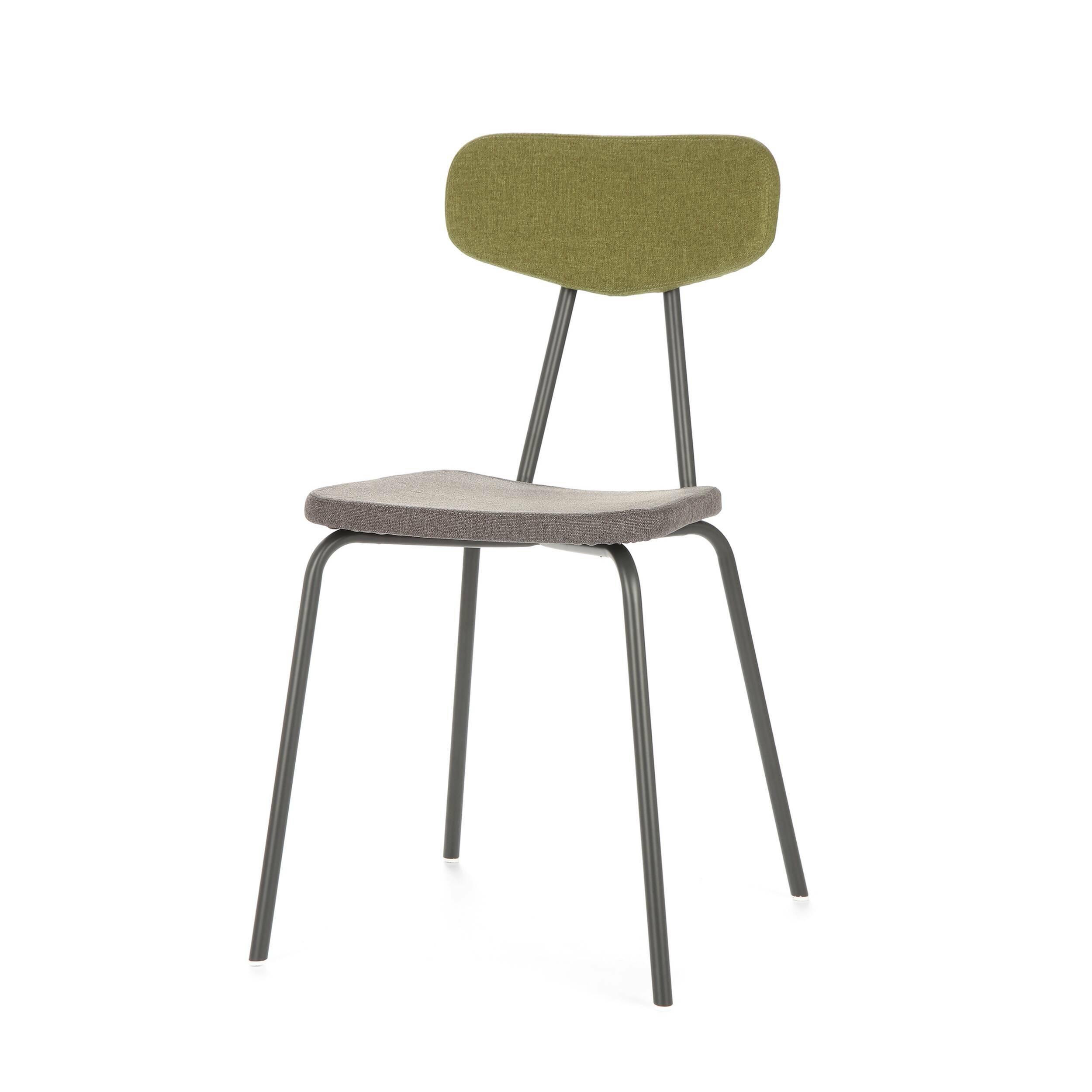 Стул Pavesino 2Интерьерные<br>Простой, классической формы стул Pavesino 2 словно создан дополнять уже готовый интерьер, оттенять его своими строгими, элегантными линиями и формой. Это добротный, универсальный стул, который благодаря отсутствию излишних деталей и декора легко впишется практически в любой тип помещения. Однако итальянский дизайнер Сильвия Марлия все же придала ему свою особенную изюминку — стул обладает очень красивым сочетанием цветов и материалов.<br><br><br> Каркас стула изготовлен из прочной стали темног...<br><br>stock: 16<br>Высота: 81,5<br>Высота сиденья: 47<br>Ширина: 46,5<br>Глубина: 57<br>Цвет спинки: Зеленый<br>Материал спинки: Полиэстер<br>Тип материала каркаса: Сталь<br>Материал сидения: Полиэстер<br>Цвет сидения: Графит<br>Тип материала спинки: Ткань<br>Тип материала сидения: Ткань<br>Коллекция ткани: Gabriel Fabric<br>Цвет каркаса: Темно-серый матовый
