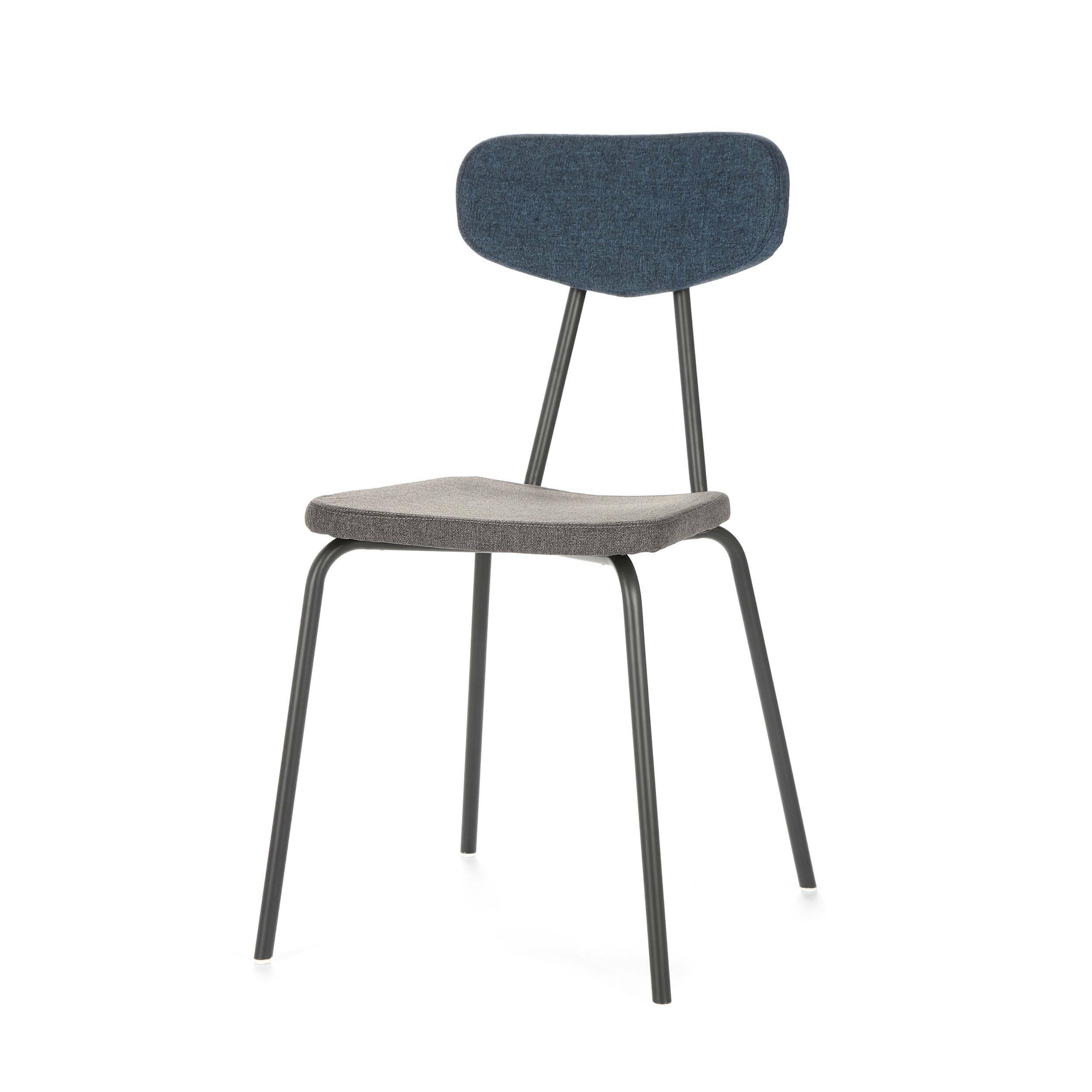 Стул Pavesino 2Интерьерные<br>Простой, классической формы стул Pavesino 2 словно создан дополнять уже готовый интерьер, оттенять его своими строгими, элегантными линиями и формой. Это добротный, универсальный стул, который благодаря отсутствию излишних деталей и декора легко впишется практически в любой тип помещения. Однако итальянский дизайнер Сильвия Марлия все же придала ему свою особенную изюминку — стул обладает очень красивым сочетанием цветов и материалов.<br><br><br> Каркас стула изготовлен из прочной стали темног...<br><br>stock: 17<br>Высота: 81,5<br>Высота сиденья: 47<br>Ширина: 46,5<br>Глубина: 57<br>Цвет спинки: Синий<br>Материал спинки: Полиэстер<br>Тип материала каркаса: Сталь<br>Материал сидения: Полиэстер<br>Цвет сидения: Графит<br>Тип материала спинки: Ткань<br>Тип материала сидения: Ткань<br>Коллекция ткани: Gabriel Fabric<br>Цвет каркаса: Темно-серый матовый