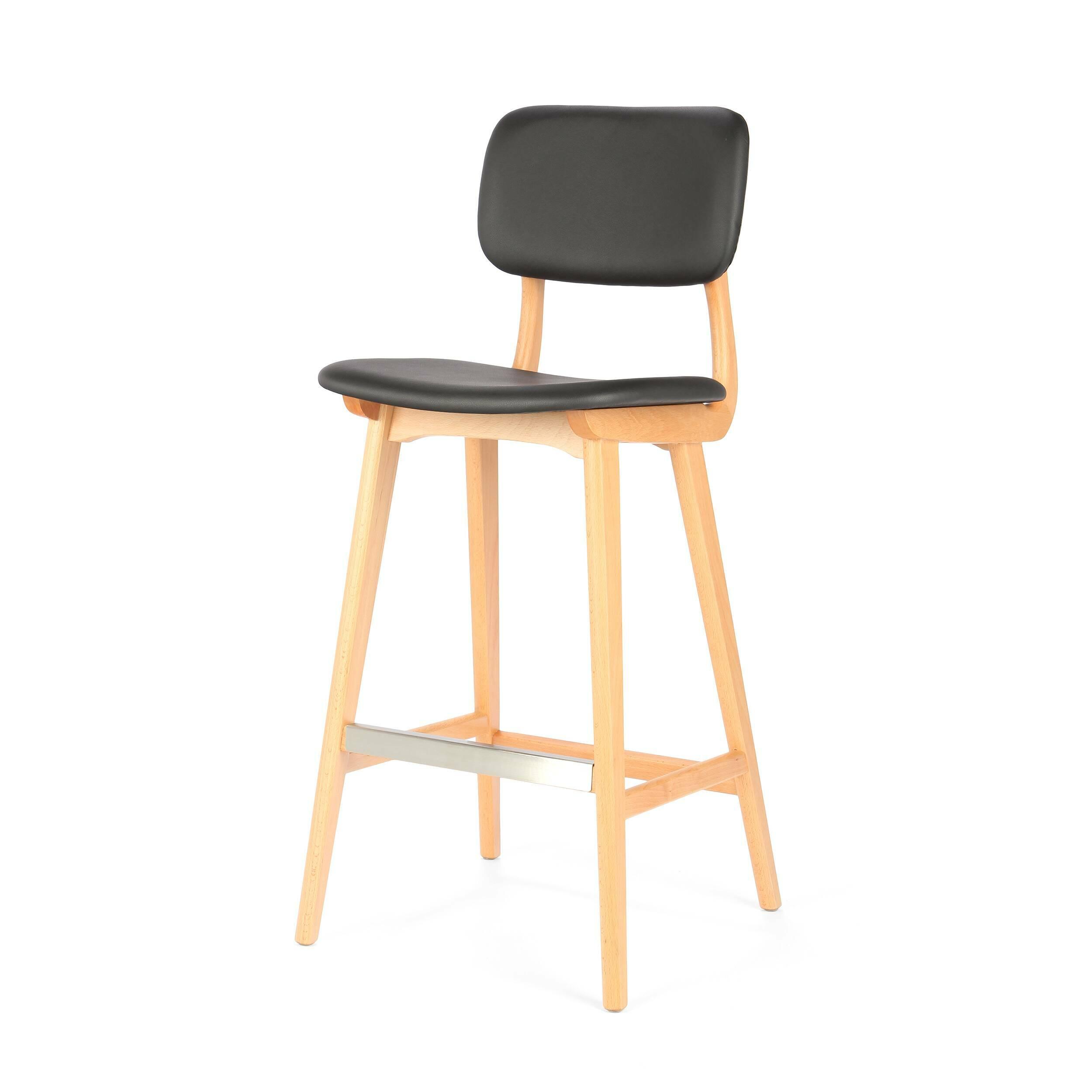 Барный стул Civil 2Барные<br>Простой дизайн и комфорт, стиль и изящество элитного дерева — все это сочетается в представленном здесь барном стуле Civil 2. Этот стул будет прекрасно смотреться не только в офисе или кабинете, но также подойдет и в квартиру. Благодаря двум вариантам обивки, имеющимся в наличии, вы сможете подобрать стул, который подойдет именно вашему интерьеру.<br><br><br> В качестве основного материала для изготовления этих стульев используется высококачественная, невероятно прочная древесина американского...<br><br>stock: 19<br>Высота: 100<br>Высота сиденья: 76<br>Ширина: 45<br>Глубина: 54,5<br>Материал каркаса: Массив бука<br>Тип материала каркаса: Дерево<br>Материал сидения: Полиуретан<br>Цвет сидения: Черный<br>Тип материала сидения: Кожа искусственная<br>Коллекция ткани: Premium Grade PU<br>Цвет каркаса: Светло-коричневый