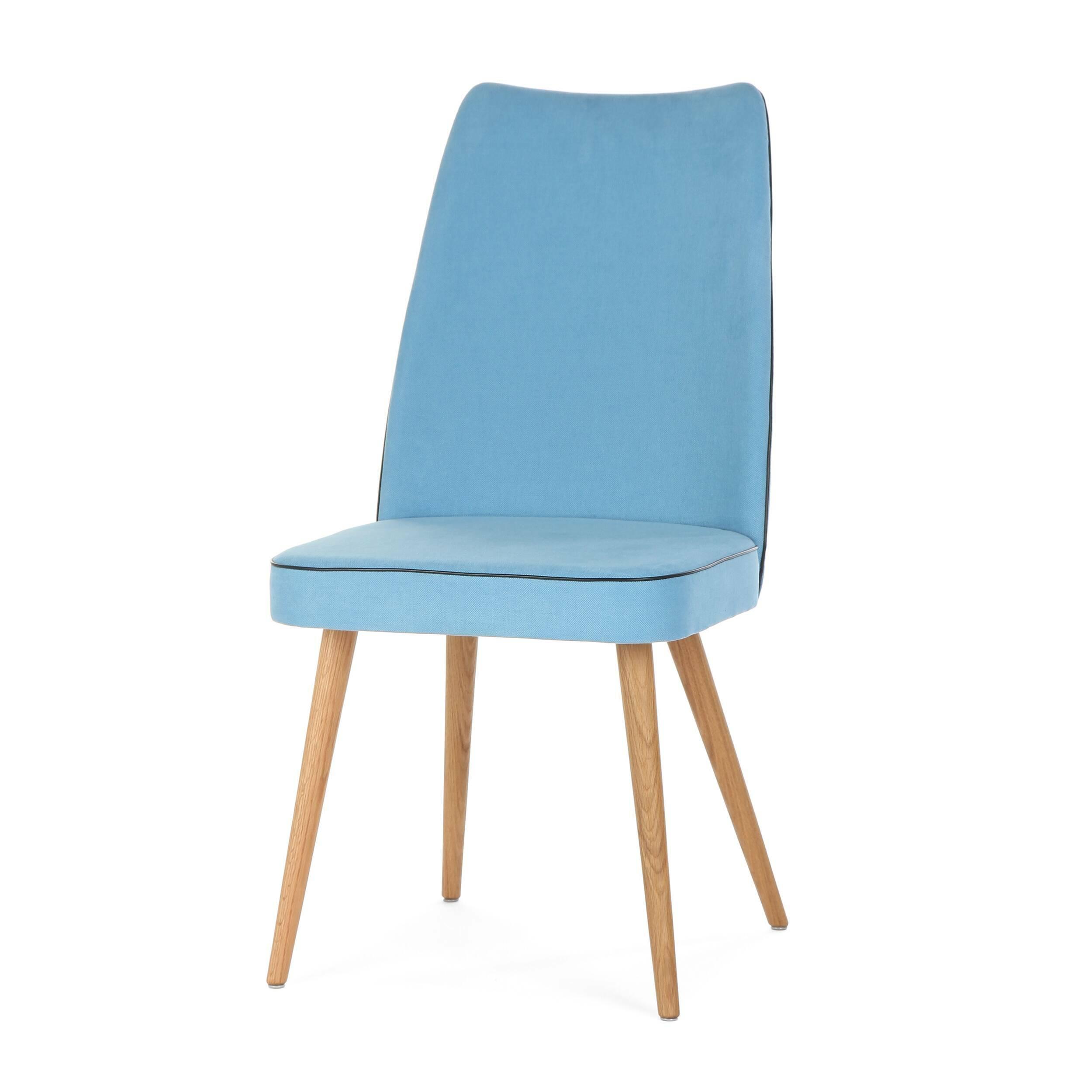 Стул Lounge HighИнтерьерные<br>Дизайнерский мягкий стул Lounge High (Лаундж Хайт) с высокой спинкой на деревянных ножках от Cosmo (Космо).<br><br> Стул Lounge High — это удобный, простой и одновременно оригинальный и необычный предмет интерьера, который открывает новые возможности ввиду своей универсальности. Стул прекрасно впишется в спокойный, мягкий, тихий и уютный интерьер кафе, ресторана или же прекрасно будет смотреться в гостиной возле обеденного стола. <br><br><br>     Основание выполнено из натурального ореха, а само сидень...<br><br>stock: 7<br>Высота: 93<br>Высота сиденья: 46<br>Ширина: 47<br>Глубина: 57<br>Цвет ножек: Дуб<br>Материал ножек: Массив дуба<br>Материал сидения: Хлопок, Лен<br>Цвет сидения: Голубой<br>Тип материала сидения: Ткань<br>Коллекция ткани: Ray Fabric<br>Тип материала ножек: Дерево