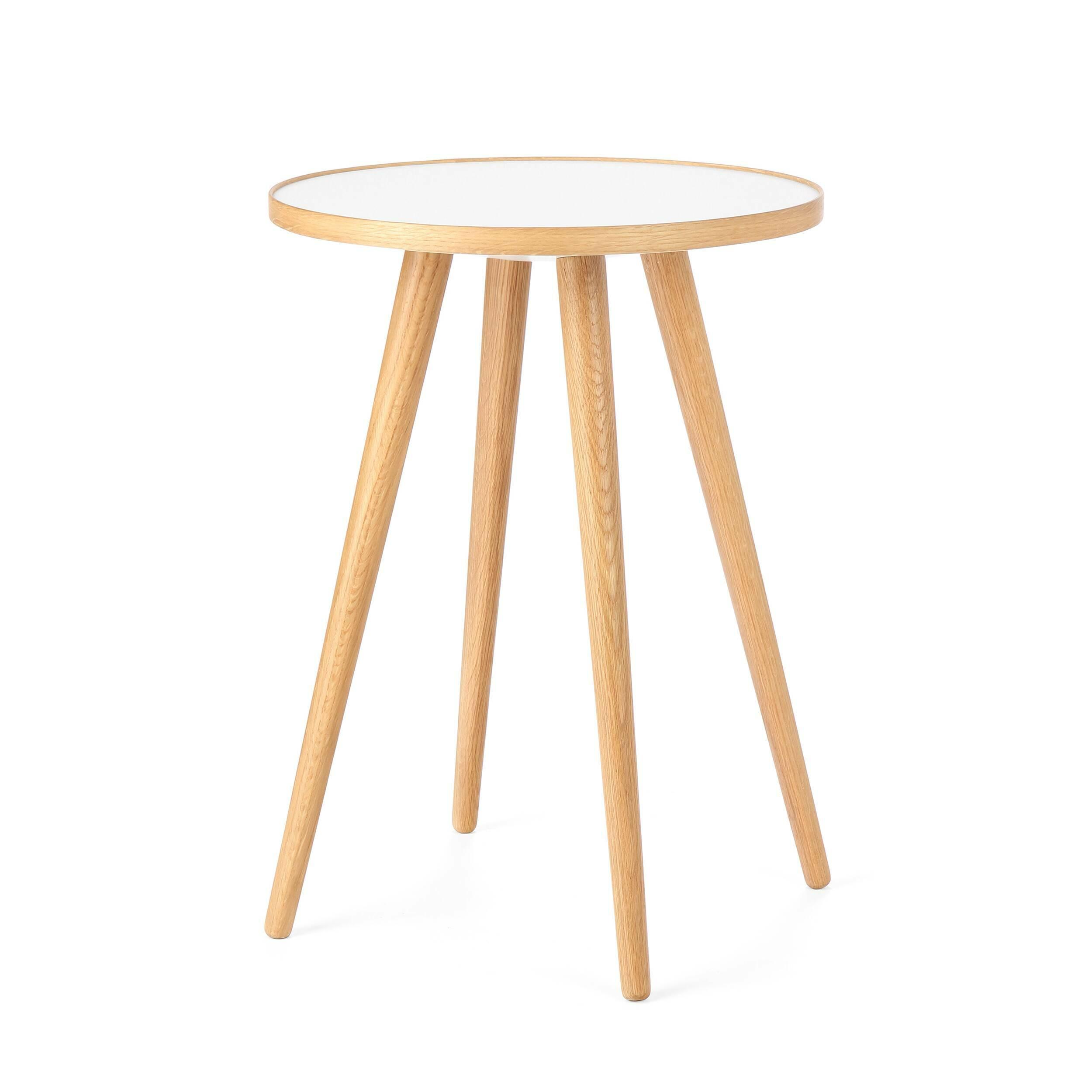 Кофейный стол Sputnik высота 55 диаметр 41Кофейные столики<br>Дизайнерский кофейный стол Sputnik (Спутник) (высота 55 диаметр 41) с пластиковой столешницей на четырех ножках от Cosmo (Космо).<br><br><br> Кофейный стол Sputnik высота 55 диаметр 41 имеет четыре длинные устойчивые ножки и небольшую круглую столешницу. Его разработал американский дизайнер и архитектор мирового уровня Шон Дикс. Столик сделан из качественной древесины американского ореха, что делает его достаточно прочным  и долговечным. Столешница  покрыта меламином, благодаря чему устойчива к н...<br><br>stock: 3<br>Высота: 55<br>Диаметр: 40,6<br>Цвет ножек: Светло-коричневый<br>Цвет столешницы: Белый<br>Материал ножек: Массив дуба<br>Тип материала столешницы: Пластик<br>Тип материала ножек: Дерево