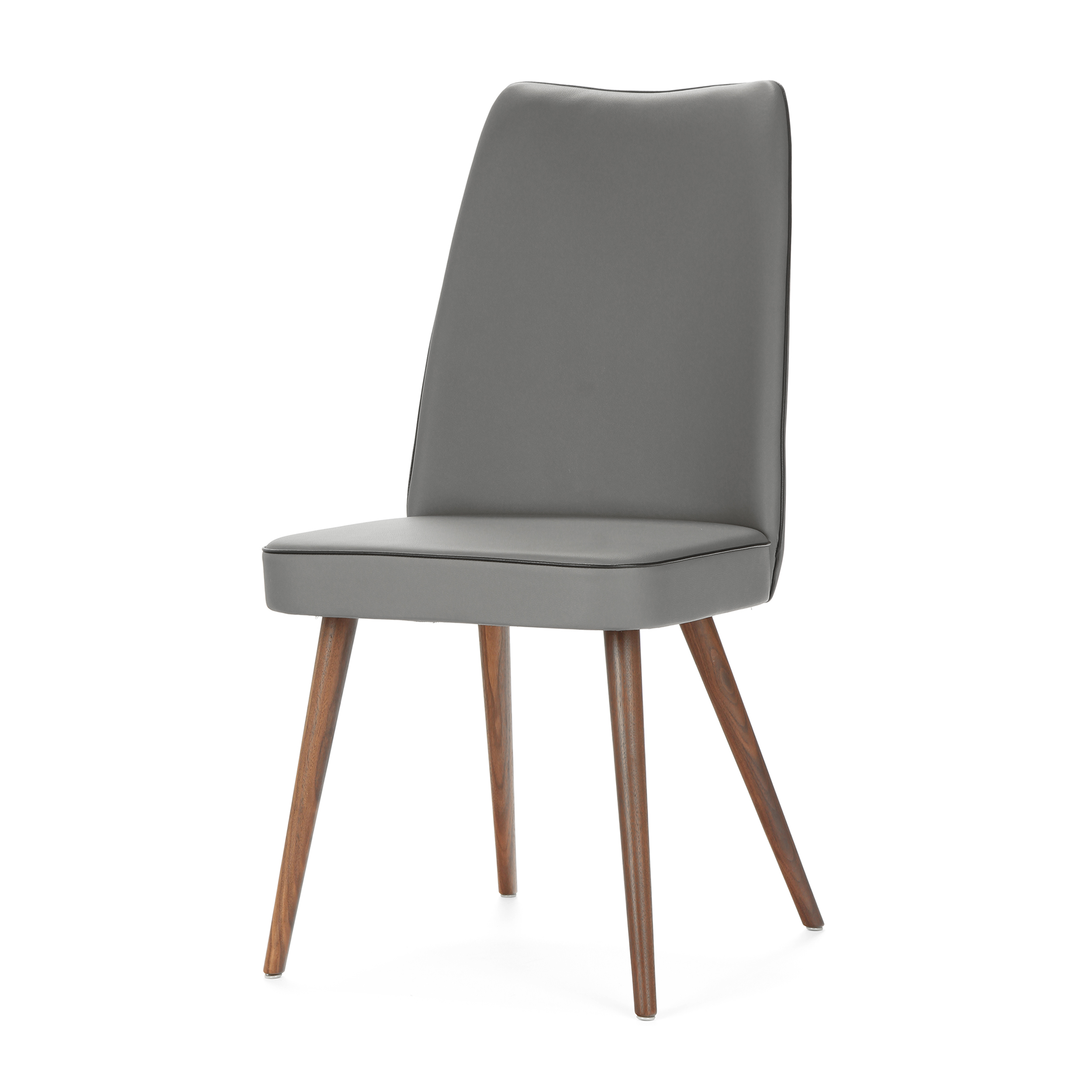 Стул Lounge HighИнтерьерные<br>Дизайнерский мягкий стул Lounge High (Лаундж Хайт) с высокой спинкой на деревянных ножках от Cosmo (Космо).<br><br> Стул Lounge High — это удобный, простой и одновременно оригинальный и необычный предмет интерьера, который открывает новые возможности ввиду своей универсальности. Стул прекрасно впишется в спокойный, мягкий, тихий и уютный интерьер кафе, ресторана или же прекрасно будет смотреться в гостиной возле обеденного стола. <br><br><br>     Основание выполнено из натурального ореха, а само сидень...<br><br>stock: 0<br>Высота: 93<br>Высота сиденья: 46<br>Ширина: 47<br>Глубина: 57<br>Цвет ножек: Орех<br>Материал ножек: Массив ореха<br>Материал сидения: Полиуретан<br>Цвет сидения: Темно-серый<br>Тип материала сидения: Кожа искусственная<br>Коллекция ткани: Premium Grade PU<br>Тип материала ножек: Дерево