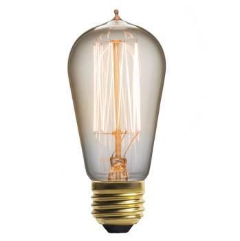Винтажная лампа Эдисон Steeple Squirrel Cage  (ST58) 15 нитейРетролампочки<br>Необычная винтажная лампа Эдисон Steeple Squirrel Cage (ST58) 15 нитей создает уникальное ощущение ретровремени. Данная дизайнерская модель — это функциональный и эффективный аксессуар, который выполнен из специального прозрачного стекла, повторяющего форму старинных ламп. <br><br><br> Основа модели создана из металла, окрашенного в винтажный цвет золота. Таким образом, ретросветильник создает гармонию в любом интерьере, от барокко до холодного и точного стиля хай-тек. Купить винтажную лампу Э...<br><br>stock: 1312<br>Длина: 13<br>Материал абажура: Стекло<br>Мощность лампы: 40W<br>Ламп в комплекте: Нет<br>Напряжение: 220<br>Тип лампы/цоколь: E27<br>Цвет абажура: Прозрачный