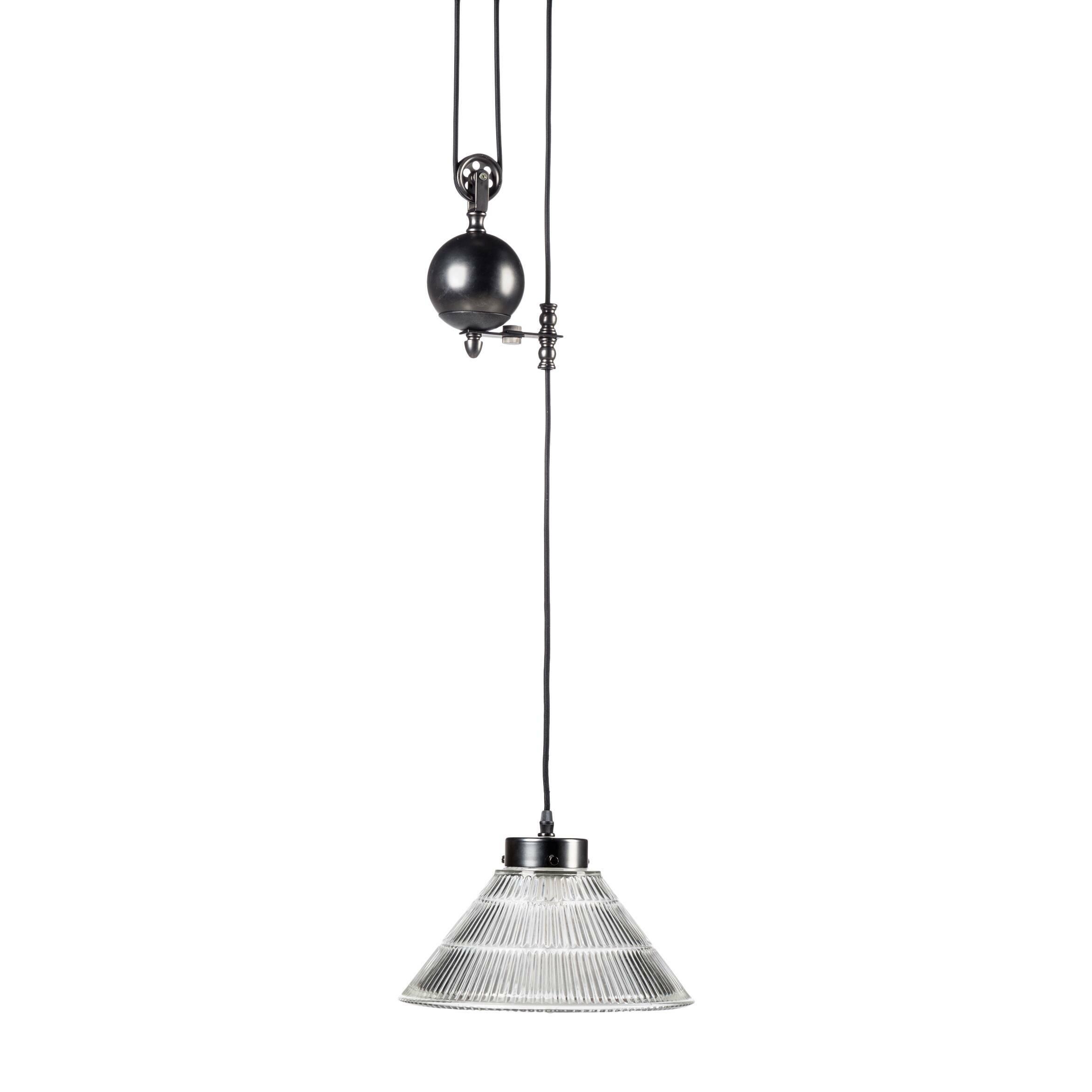 Подвесной светильник Pulley GlassconeПодвесные<br>Когда-то в старинных светильниках лебедка была вещью необходимой, иначе как по-другому было поднять наверх тяжелые свечи, которые использовались в люстрах? С изобретением электричества подъемные механизмы не ушли в небытие, а перепрофилировались — с их помощью стали чистить сложные хрустальные конструкции люстр, канделябров и светильников. Ну а в нашу эру высоких технологий лебедка не столько практичная вещь, которая поддерживает люстру и помогает регулировать ее высоту, но главным образо...<br><br>stock: 0<br>Высота: 20<br>Диаметр: 25<br>Количество ламп: 1<br>Материал абажура: Стекло<br>Материал арматуры: Сталь<br>Ламп в комплекте: Нет<br>Напряжение: 220<br>Тип лампы/цоколь: E27<br>Цвет абажура: Прозрачный