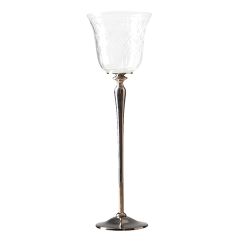 Подсвечник (RO-6182/DCWN)Подсвечники и свечи<br>Exstera<br><br>stock: 24<br>Высота: 38<br>Ширина: 12<br>Материал: металл, стекло<br>Цвет: chrom/clear<br>Длина: 12<br>Ширина: 12<br>Высота: 38<br>Длина: 12