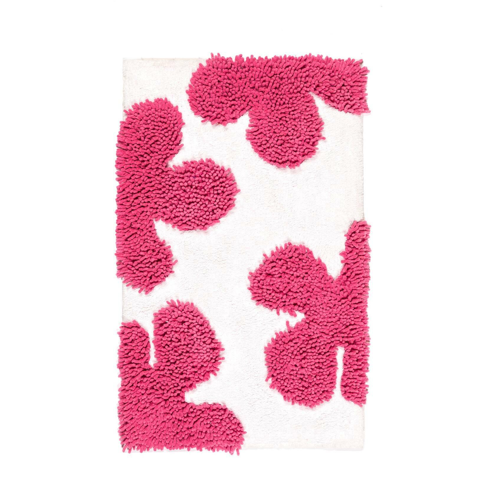 Ковер для ванной комнаты QuilonДля ванной комнаты<br>Каждый из нас четко понимает значение поговорки «Ноги держи в тепле, а голову в холоде». Застудив их, вы нанесете большой вред собственному здоровью. Именно поэтому стоит бережно заботиться о тепле полов, используя всевозможные покрытия, к коим относятся и коврики для ванной. Как можно уже понять, коврики для ванной это не только модный декор, но и вклад в здоровье семьи. Они также помогают снизить риск поскользнуться на мокрых от влаги кафельных полах.<br><br><br><br><br> Забавный яркий хиппи-диз...<br><br>stock: 3<br>Ширина: 50<br>Материал: Хлопок<br>Цвет: Белый+розовый/White+Pink<br>Высота ворса: ворс=12мм,петля=35мм<br>Длина: 80<br>Плотность ворса: 5500000стежков/м2<br>Состав основы: Противоскользящий каучук<br>Тип производства: Ручное производство