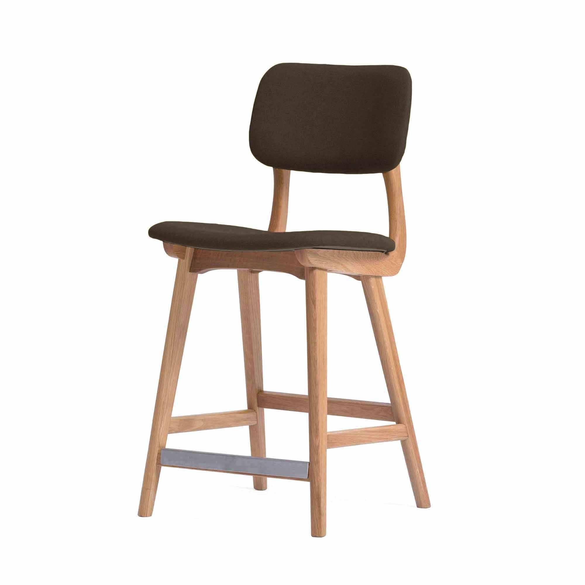 Барный стул Civil 3Полубарные<br>Простой дизайн и комфорт, стиль и изящество элитного дерева — все это сочетается в представленном здесь барном стуле Civil 3. Этот стул будет прекрасно смотреться не только в офисе или кабинете, но также подойдет и в квартиру. Благодаря двум вариантам обивки, имеющимся в наличии, вы сможете подобрать стул, который подойдет именно вашему интерьеру.<br><br><br> В качестве основного материала для изготовления этих стульев используется высококачественная, невероятно прочная древесина американского...<br><br>stock: 0<br>Высота: 97<br>Высота сиденья: 61<br>Ширина: 45<br>Глубина: 54<br>Материал каркаса: Массив бука<br>Тип материала каркаса: Дерево<br>Цвет сидения: Черный<br>Тип материала сидения: Кожа<br>Коллекция ткани: Standart Leather<br>Цвет каркаса: Коричневый
