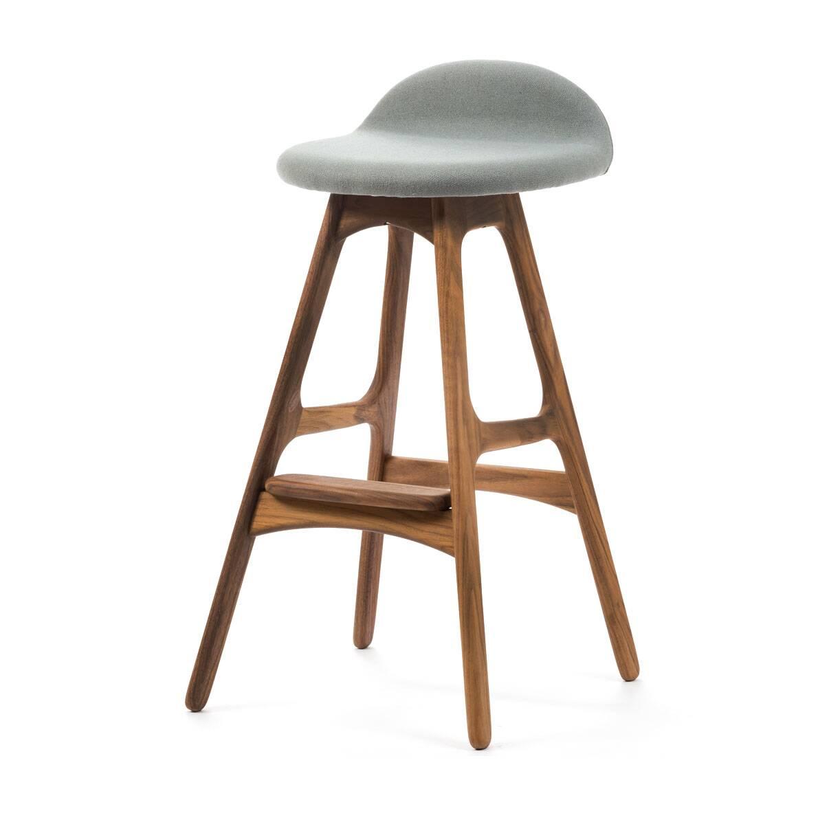 Барный стул Buch 2Полубарные<br>Мы говорим скандинавский модерн, подразумеваем целую плеяду дизайнеров-экспериментаторов, среди которых был и Эрик Бук. Мебель этого датчанина с 1957 года занимает прочные позиции в истории дизайна благодаря минималистичным обтекаемым формам, натуральным материалам — дереву, ткани и коже, практичности и функциональности.<br><br><br> Поклонников модного нынче экологичного образа жизни, да и просто любителей завтраков и ужинов на траве, наверняка привлечет знаменитый барный стул Buch 2. Он появи...<br><br>stock: 0<br>Высота: 75,5<br>Высота сиденья: 65<br>Ширина: 40<br>Глубина: 45<br>Цвет ножек: Орех<br>Материал ножек: Массив ореха<br>Материал сидения: Шерсть, Нейлон<br>Цвет сидения: Серый<br>Тип материала сидения: Ткань<br>Коллекция ткани: T Fabric<br>Тип материала ножек: Дерево