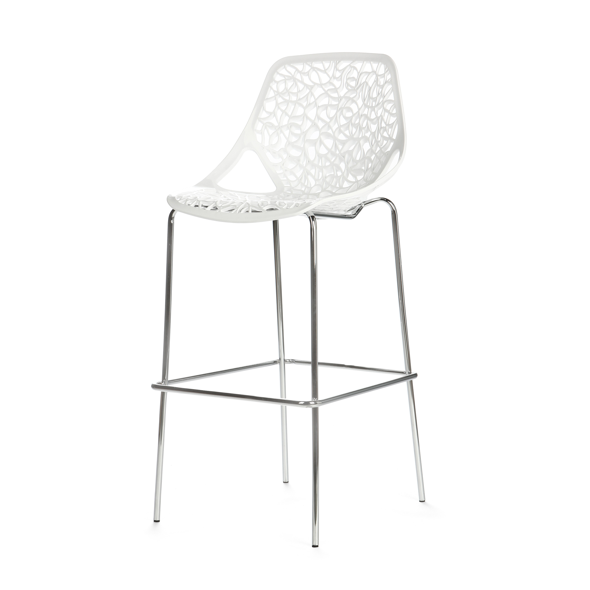 Барный стул CapriceБарные<br>Дизайнерский легкий барный стул Caprice (Каприз) на высоких ножках в цвете хром от Cosmo (Космо). <br><br> Удивительная особенность стульев Caprice в их способности привносить в окружающее их пространство элементы некоторого гламура и шика. Примерно так же, как ювелирные изделия завершают изысканный наряд.<br><br><br> Оригинальный барный стул Caprice — одна из самых оригинальных работ художника Марчелло Дзильяни. Интересный дизайн создает впечатление тонкого кружева, придающего этому стулу декоративно...<br><br>stock: 0<br>Высота: 119<br>Высота сиденья: 83<br>Ширина: 54<br>Глубина: 61<br>Цвет ножек: Хром<br>Цвет сидения: Белый<br>Тип материала сидения: Сталь<br>Тип материала ножек: Сталь нержавеющая