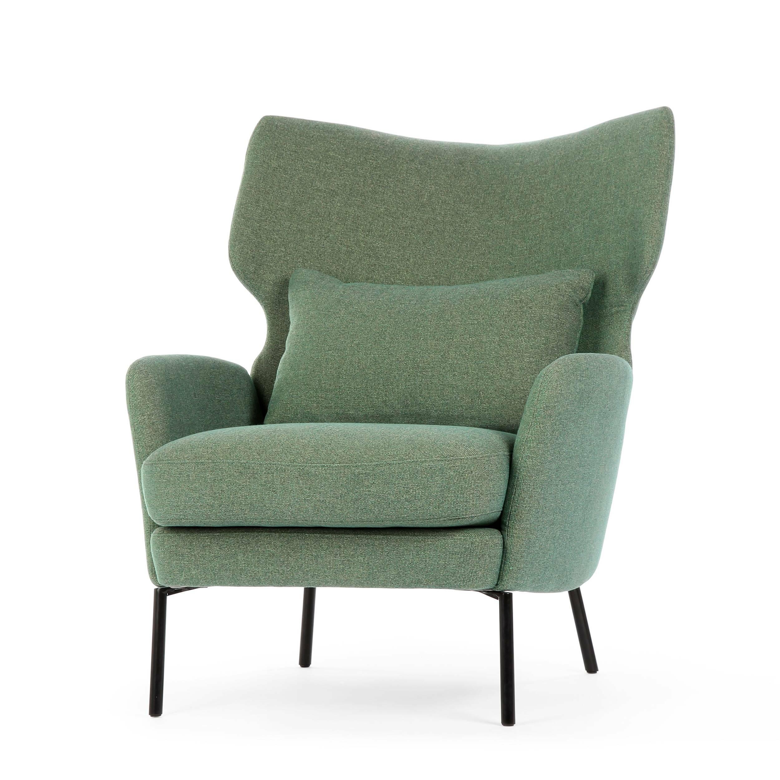Кресло AlexИнтерьерные<br>Дизайнерское большое стильное кресло Alex (Алекс) из хлопка, льна, полиэстера от Sits (Ситс).<br><br><br> Утонченный вкус и минимум деталей — вот то, что отличает современный стиль в интерьере, что придает ему интересный характер и дарит большое количество пространства и свободы. Сегодня не только стиль и свободное пространство имеют значение в мебельной обстановке комнат, но и уровень качества и удобства используемой мебели. Представленное здесь кресло полностью отвечает этим требованиям и пора...<br><br>stock: 0<br>Высота: 93<br>Высота сиденья: 43<br>Ширина: 79<br>Глубина: 93<br>Цвет ножек: Черный<br>Материал обивки: Полиэстер, Хлопок, Акрил<br>Степень комфортности: Стандарт комфорт<br>Форма подлокотников: Стандарт<br>Коллекция ткани: Категория ткани IV<br>Тип материала обивки: Ткань<br>Тип материала ножек: Металл<br>Цвет обивки: Темно-зеленый