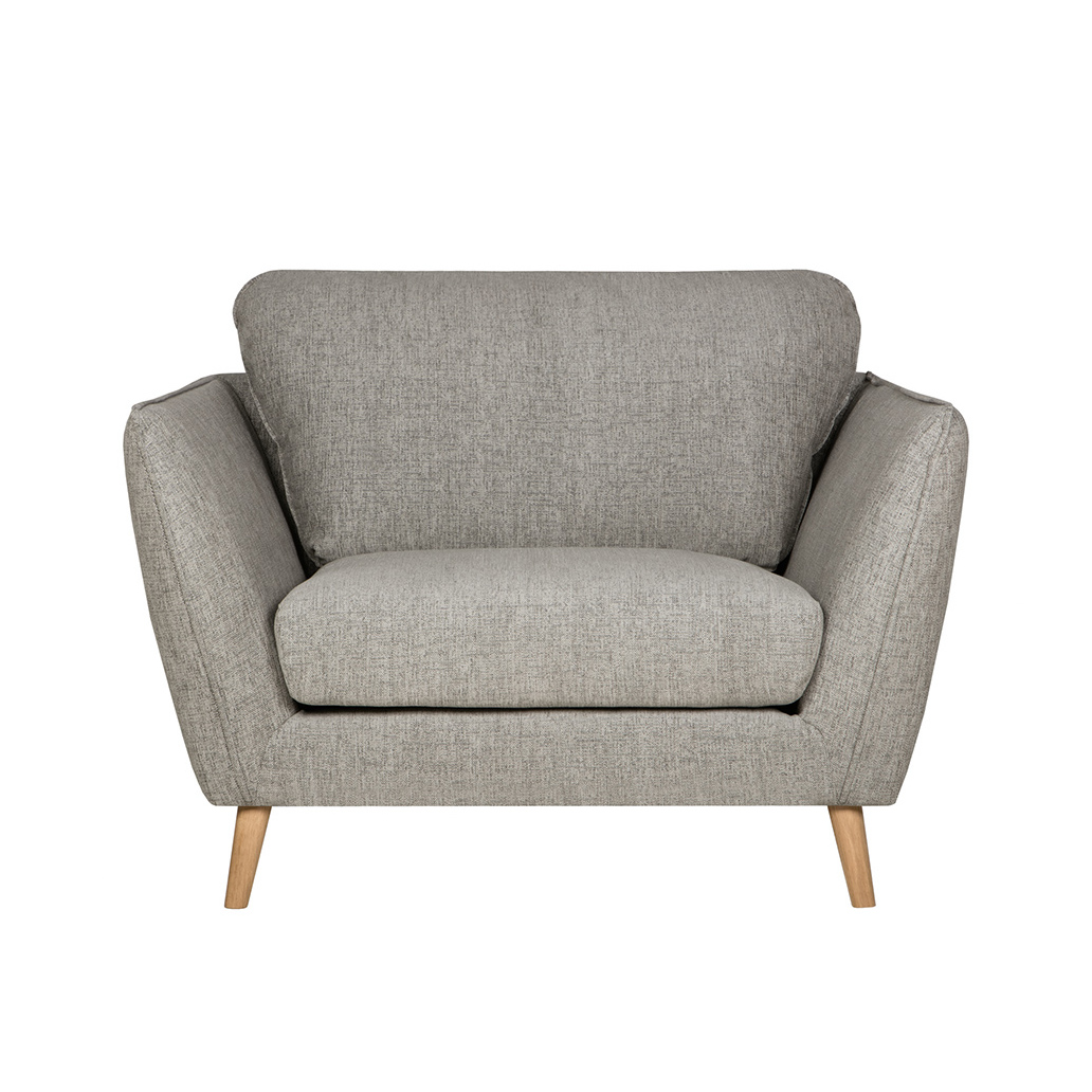 Кресло StellaИнтерьерные<br>Спокойный, ненавязчивый дизайн в сочетании с восхитительно удобной формой — кресло Stella отличается особым комфортом сиденья и спинки, а также приятным и дружелюбным оформлением. Отсутствие вычурных деталей и спокойный цвет позволяют отнести это изделие к таким интерьерным стилям, как лофт, классика, минимализм и некоторым другим современным направлениям. Кресло имеет широкие сиденье и спинку, высокие сплошные подлокотники и имеет привлекательную форму перевернутой трапеции.<br><br><br> Обивк...<br><br>stock: 0<br>Высота: 85<br>Высота сиденья: 44<br>Ширина: 116<br>Глубина: 102<br>Цвет ножек: Дуб<br>Материал обивки: Акрил, Полиэстер, Хлопок<br>Степень комфортности: Стандарт комфорт<br>Форма подлокотников: Стандарт<br>Коллекция ткани: Категория ткани II<br>Тип материала обивки: Ткань<br>Тип материала ножек: Дерево<br>Цвет обивки: Светло-серый